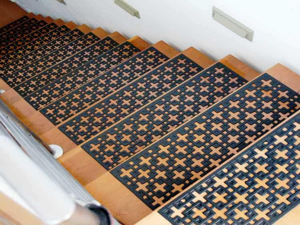 Modern Stair Tread Rugs We Chose The Diamond Ivory Pattern We Within Non Skid Stair Treads Carpet (View 7 of 15)