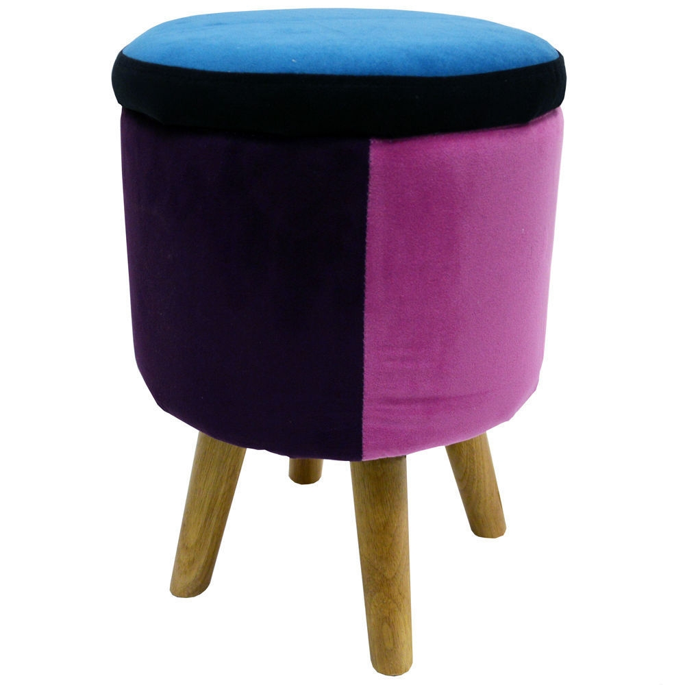 Modern Storage Stool Colorful Ottoman Footstool Dressing Table Within Tesco Footstools And Pouffes (Photo 13 of 15)