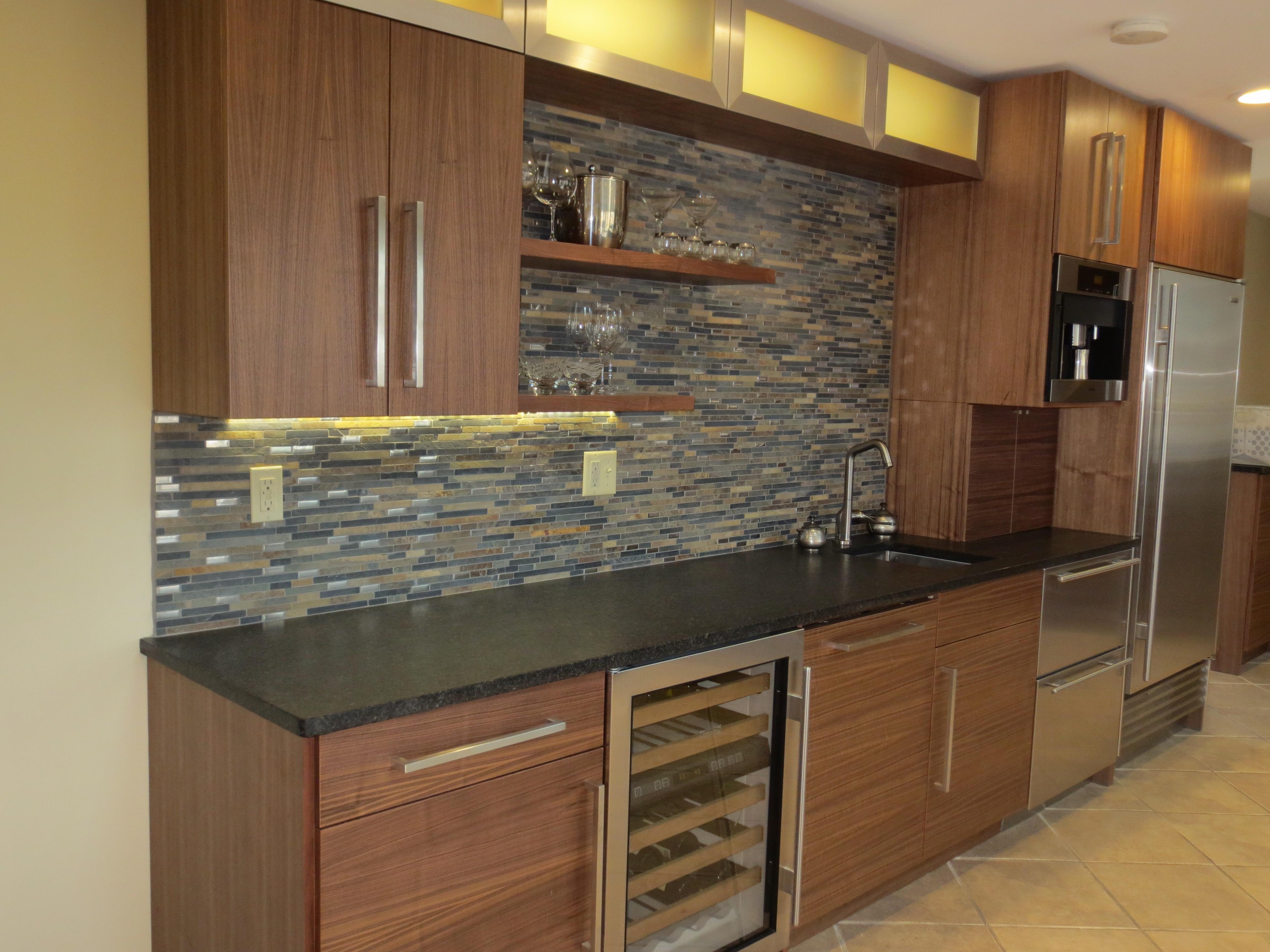 Modern Walnut Aluminum Glass Regarding Glass Shelves For Bar Area (Image 11 of 15)