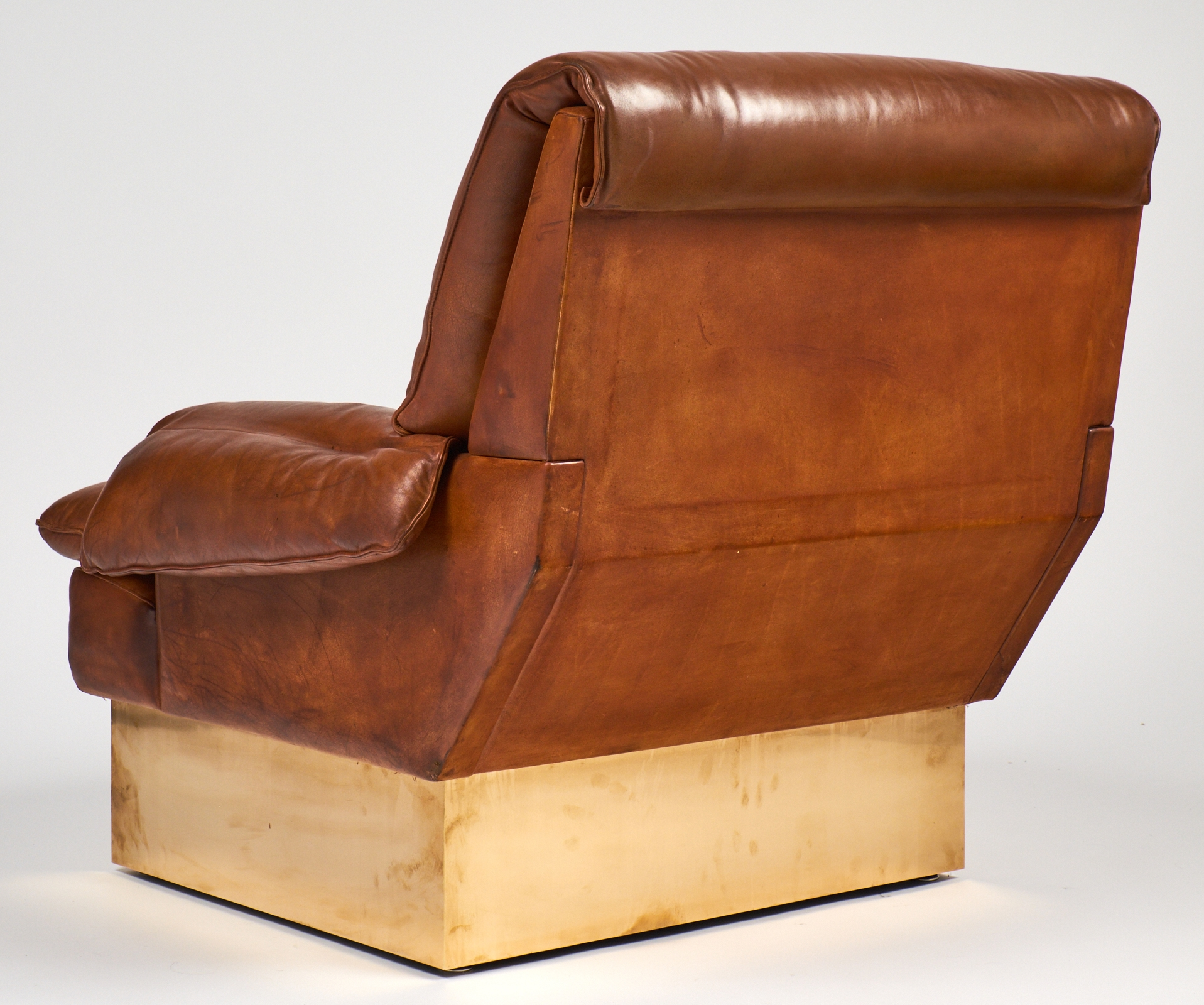 Modernist French Leather And Brass Armchair With Ottoman Jean For Vintage Leather Armchairs (Image 8 of 15)
