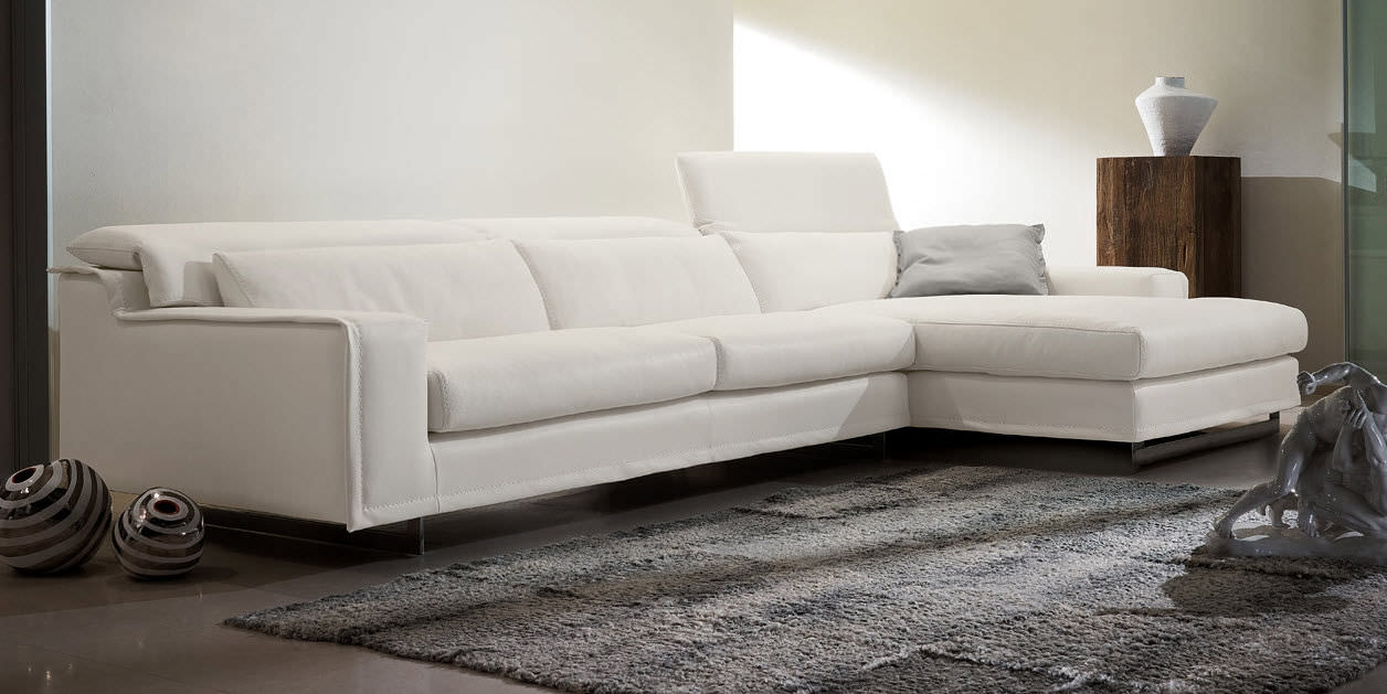 Modular Sofa Contemporary Leather 3 Seater Blues Gamma Inside Leather Corner Sofa Bed (Image 7 of 15)