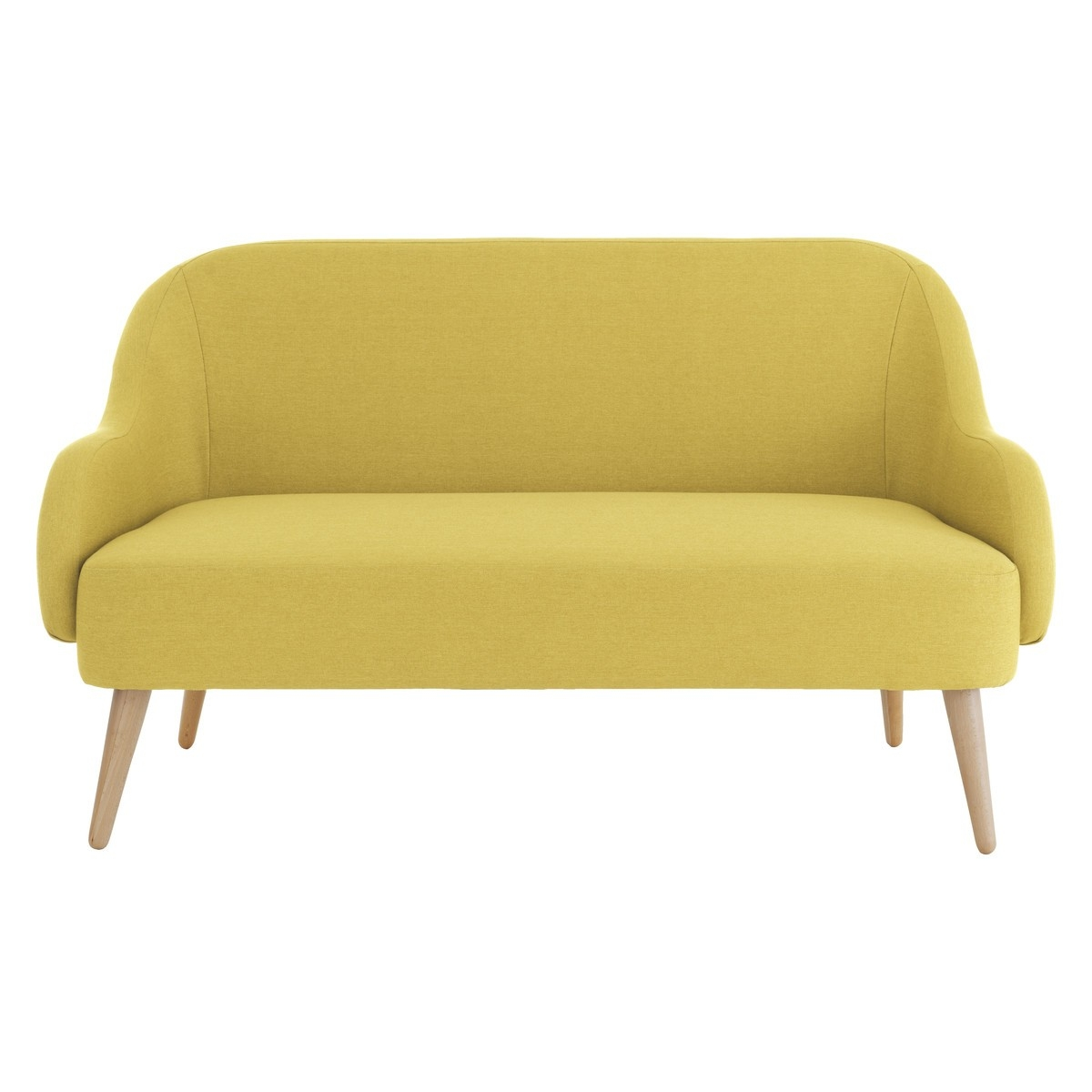 Momo Saffron Yellow Fabric 2 Seater Sofa Yellow Fabric With Small 2 Seater Sofas (Image 6 of 15)