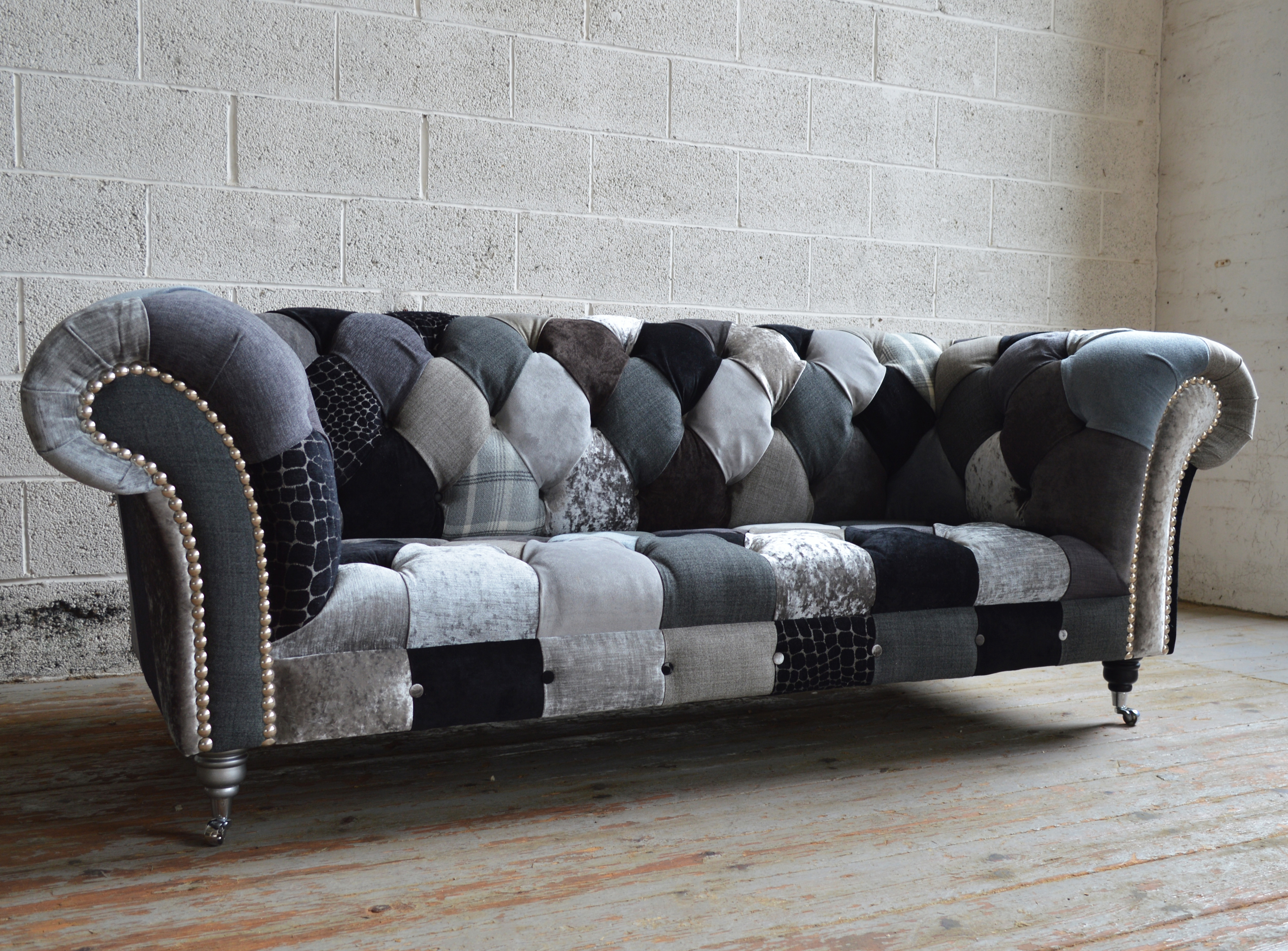 Monochrome Walton Patchwork Chesterfield Sofa Abode Sofas With Regard To Chesterfield Furniture (Image 15 of 15)