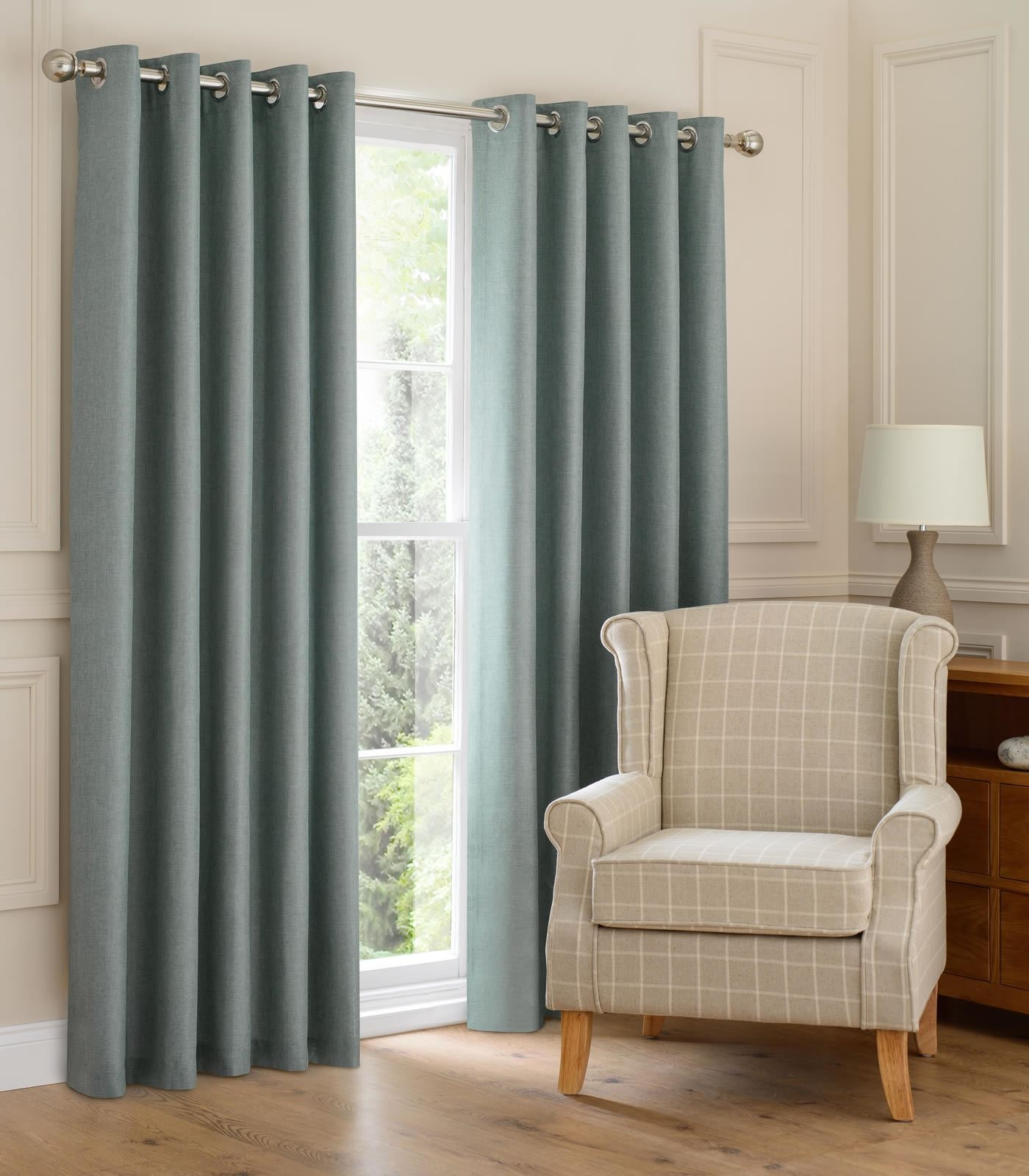 Montana Lined Eyelet Curtains Ready Made Ring Top Curtain Pairs For Grey Eyelet Curtains (Image 17 of 25)