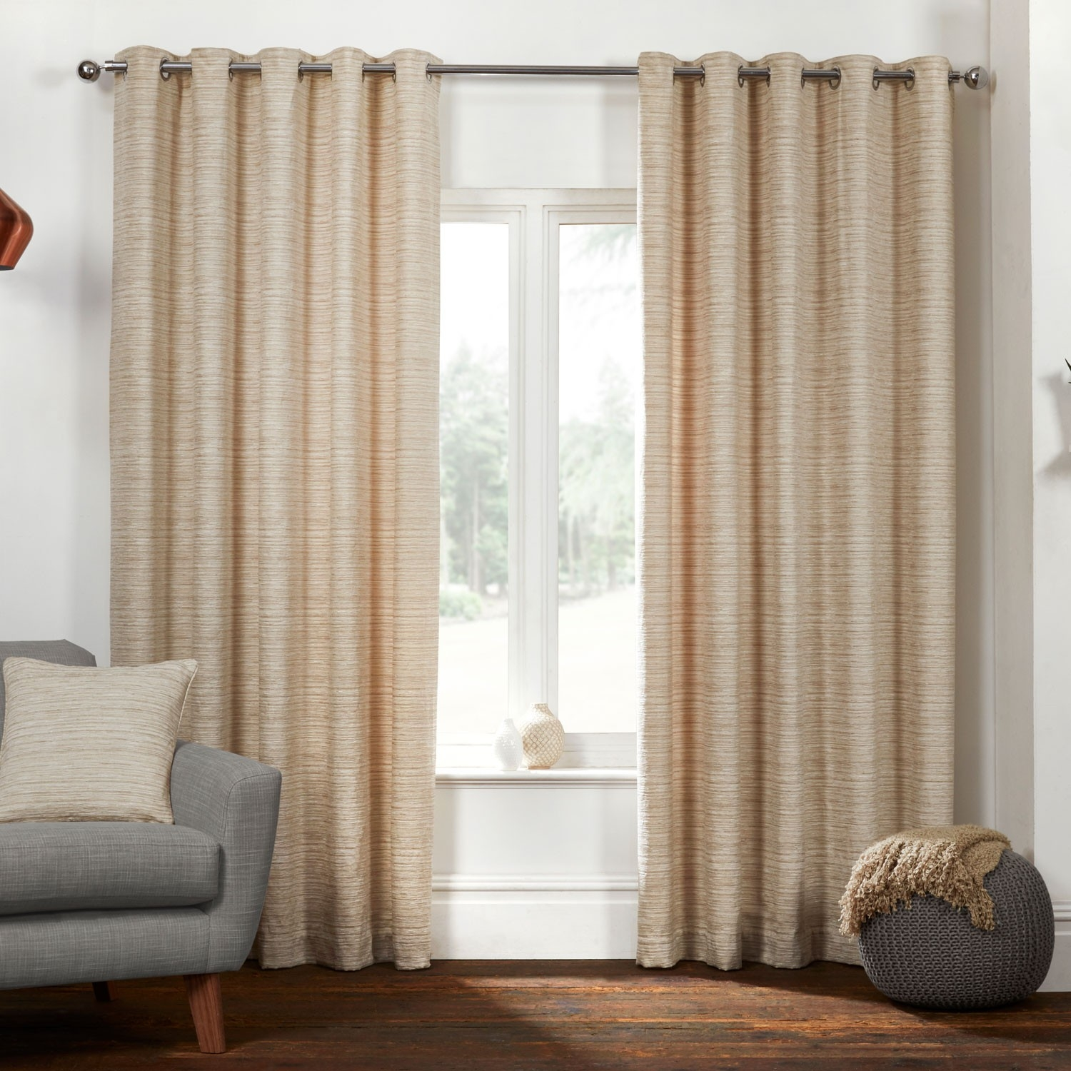 Montreal Natural Textured Woven Luxury Eyelet Curtains Pair Intended For Brown Eyelet Curtains (Image 16 of 25)