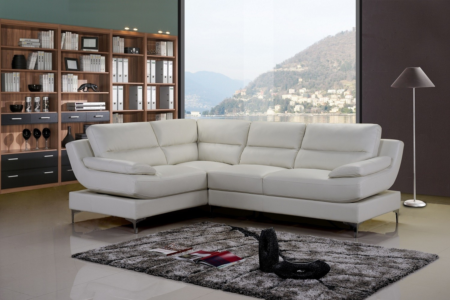 Monza Stylist Modern White Leather Corner Sofa Lefthand Plus In White Leather Corner Sofa (Photo 6 of 15)