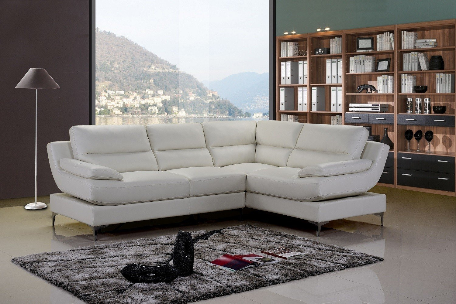 Monza White Leather Corner Sofa Right Hand Sofa Pinterest Within White Leather Corner Sofa (Photo 4 of 15)