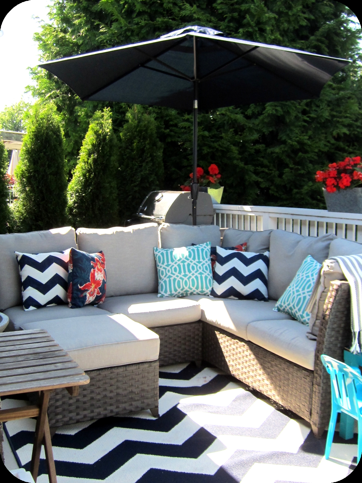 My House Of Giggles Navy And White Upper Deck Patio Makeover Pertaining To Outdoor Rugs For Deck (View 10 of 15)