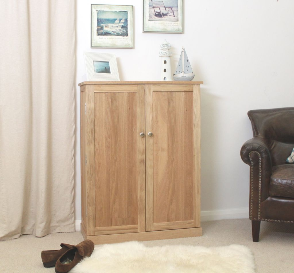 Nara Solid Oak Hallway Patio Furniture Large Shoe Storage Cupboard Throughout Hallway Cupboard Doors (Image 17 of 25)