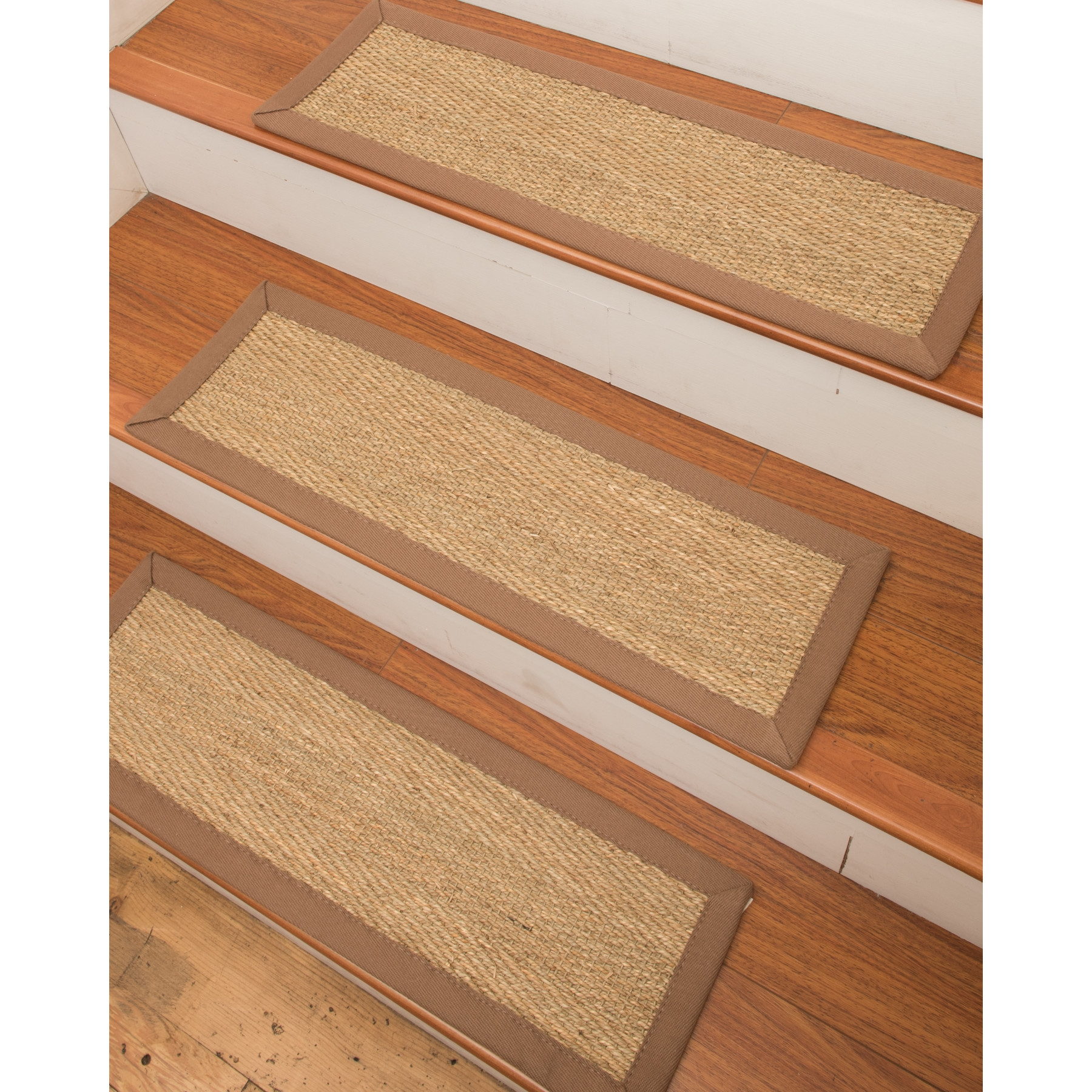 Natural Area Rugs Costa Rica Seagrass Carpet Beige Stair Tread With Stair Tread Rug Liners (Image 6 of 15)