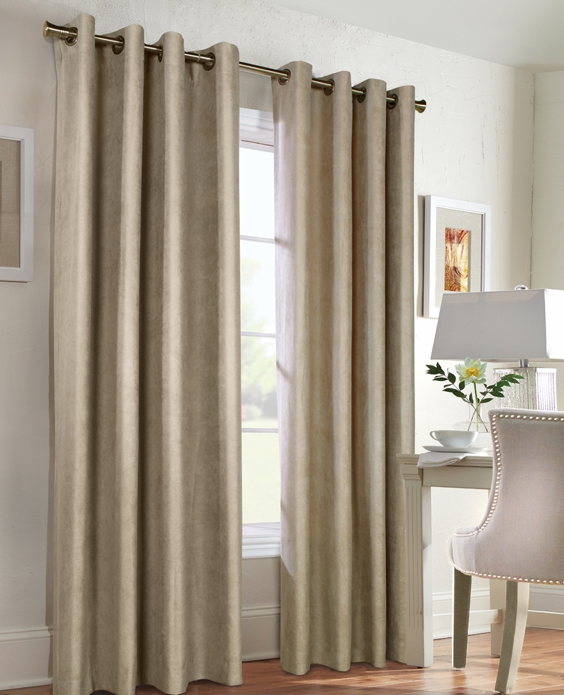 Navar Total Blackout Faux Suede Grommet Panel Thermaplus In Faux Suede Curtain Panels (Image 16 of 25)