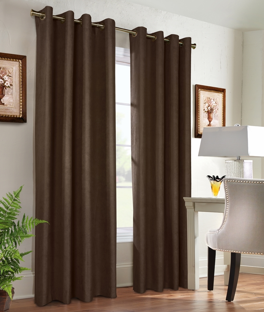 Navar Total Blackout Faux Suede Grommet Panel Thermaplus With Regard To Faux Suede Curtain Panels (Image 17 of 25)