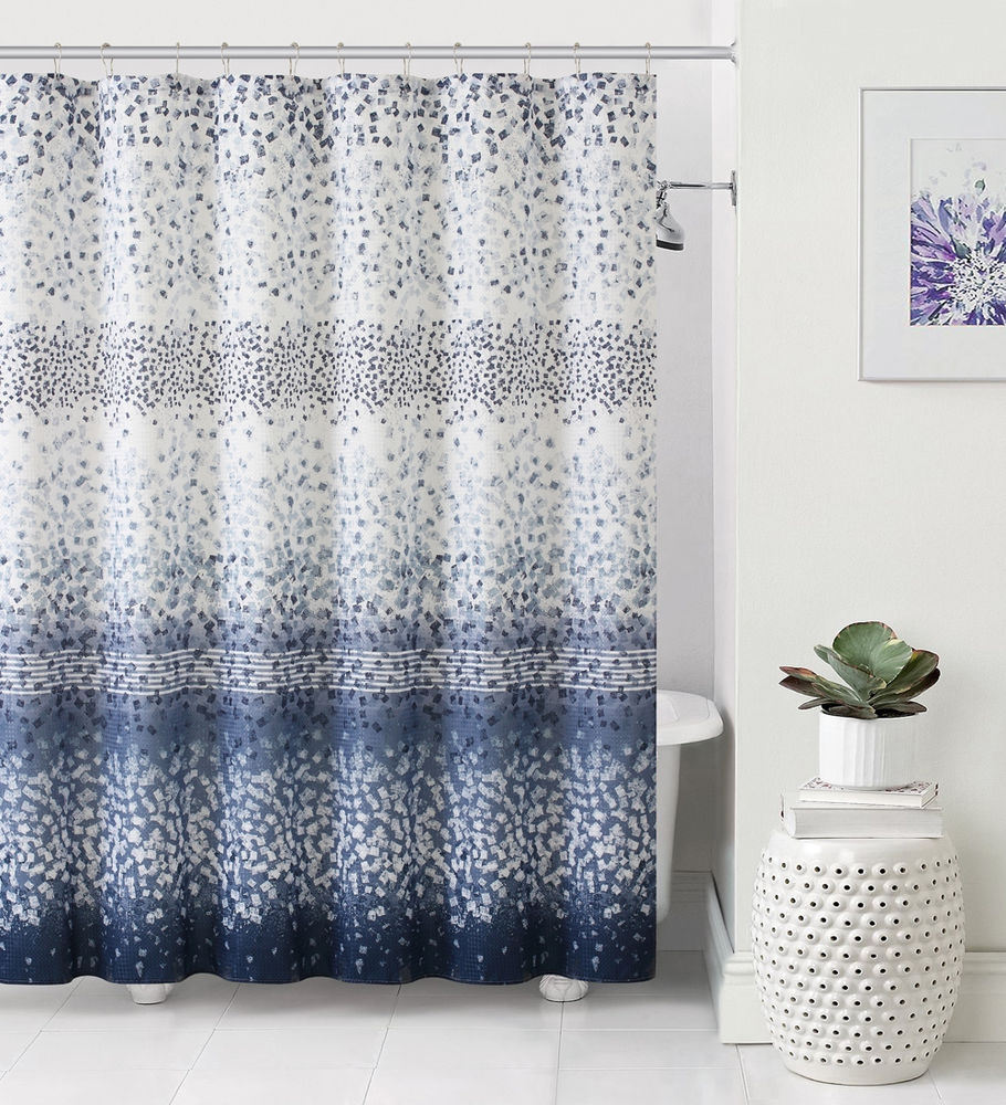 Navy Blue And White Shower Curtain Curtains Decoration Intended For Navy And White Curtains (Image 14 of 25)