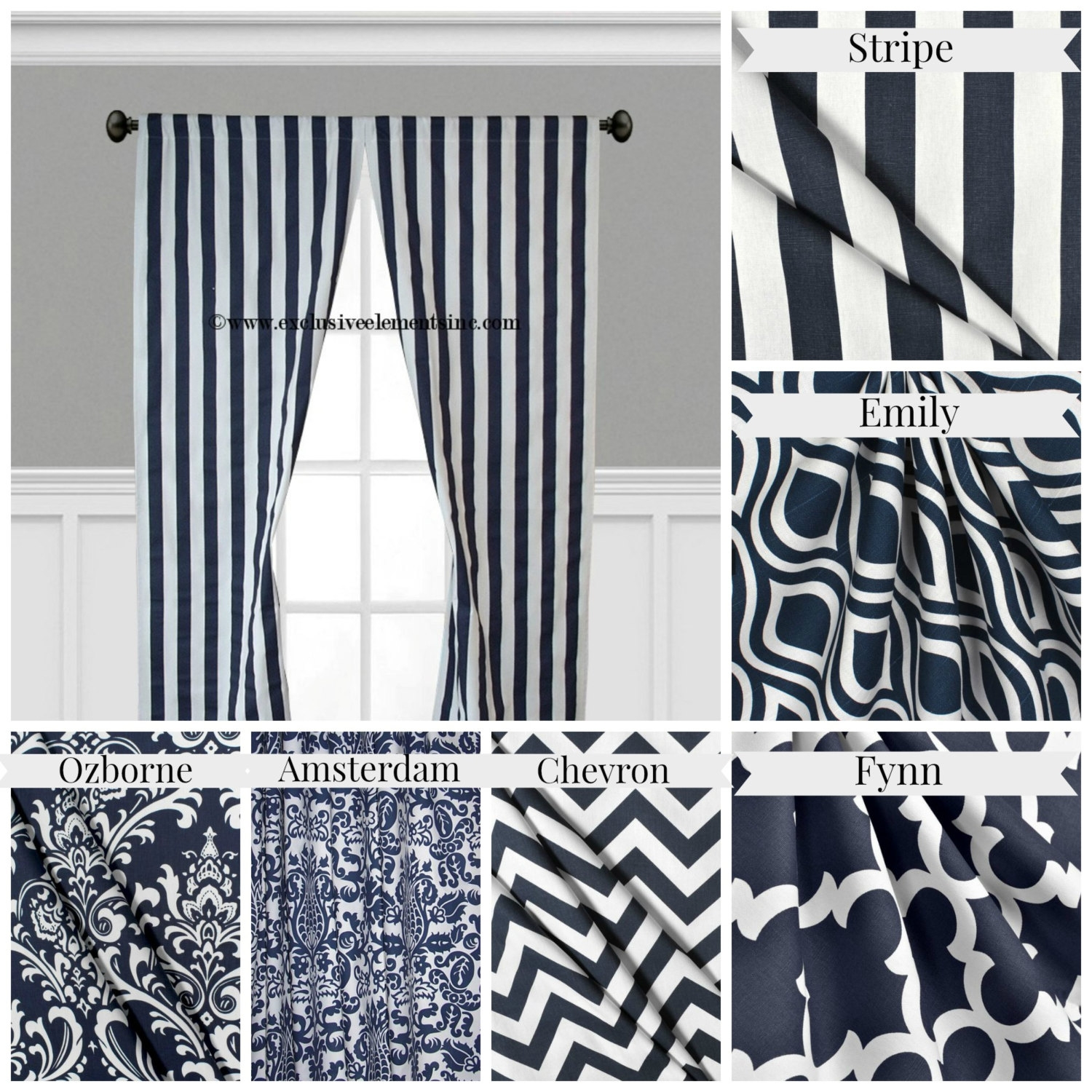 Navy Blue Curtain Panels Modern Geometric Chevron Damask For Navy And White Curtains (Image 15 of 25)