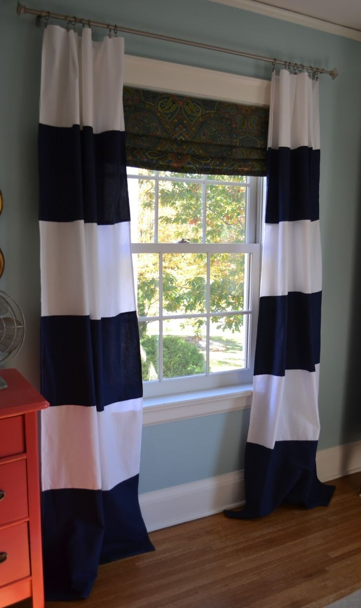 Navy Blue Curtains For Bedroom Pierpointsprings Pertaining To Navy And White Curtains (Image 16 of 25)
