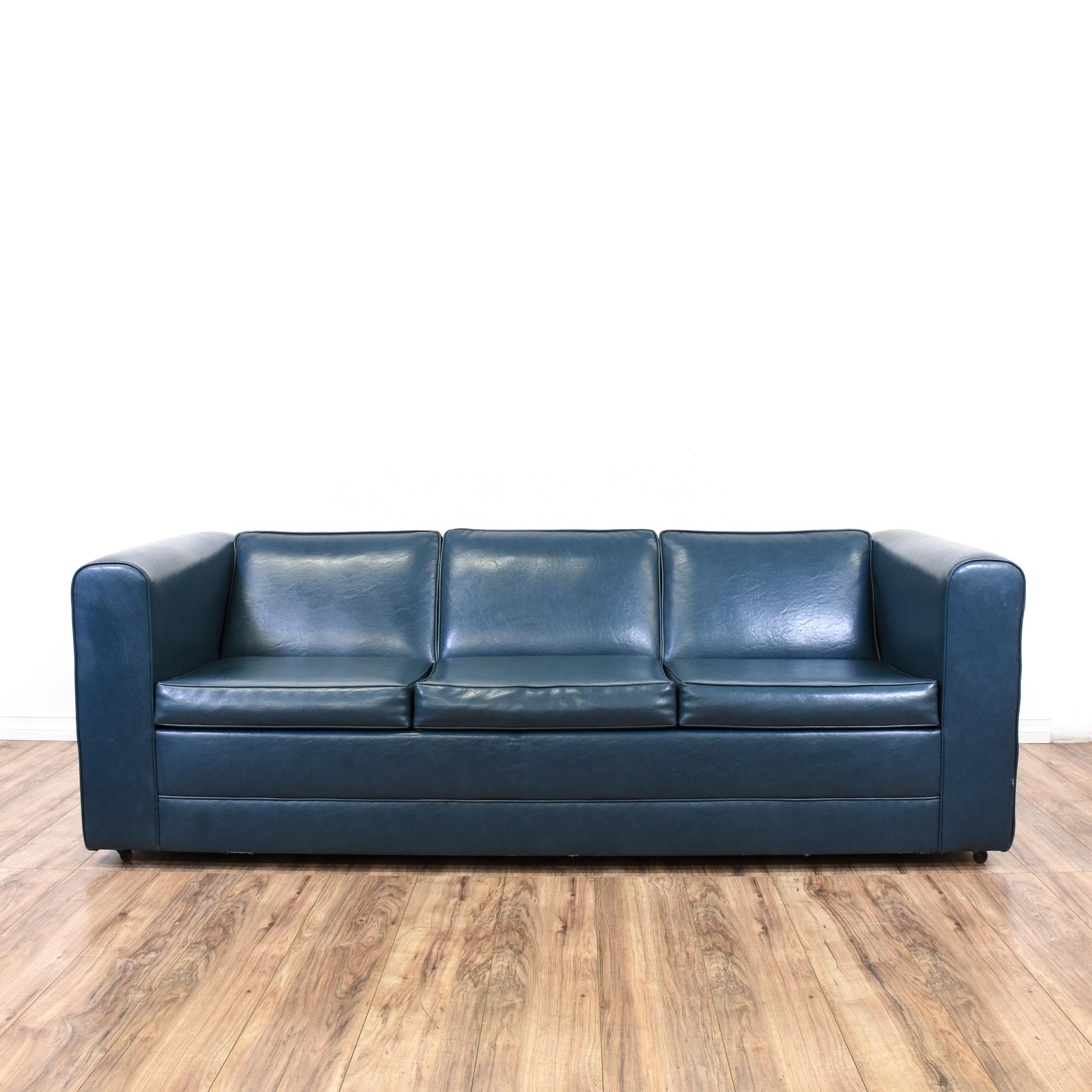 Navy Blue Vinyl Upholstered Sofa Bed In Chintz Sofa Beds (View 12 of 15)