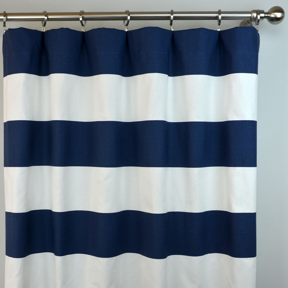 Navy Blue White Cabana Horizontal Stripe Curtains Rod Pocket Pertaining To Navy And White Curtains (Image 19 of 25)