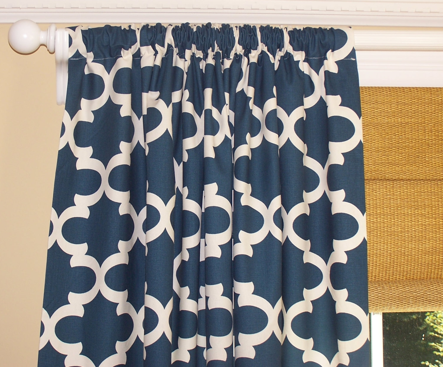 Navy Curtains Dark Blue Curtains Moroccan Dark Blue Inside Navy And White Curtains (Image 20 of 25)