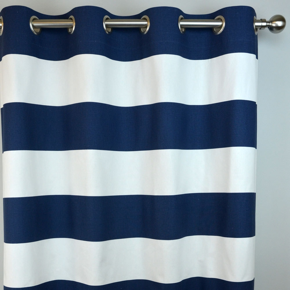 Navy White Horizontal Stripe Curtains Cabana Grommet Top Inside Stripe Curtains (Image 18 of 25)