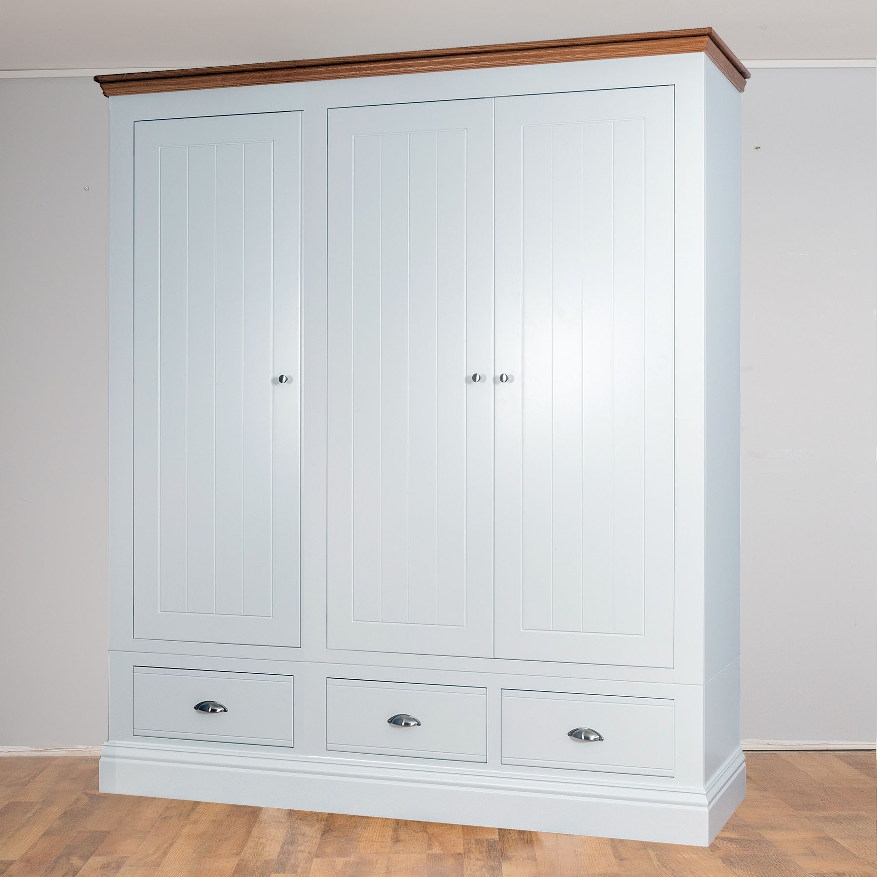 New England Painted 3 Door 3 Drawer Wardrobe In 2 Heights With 3 Door White Wardrobes (Image 14 of 25)