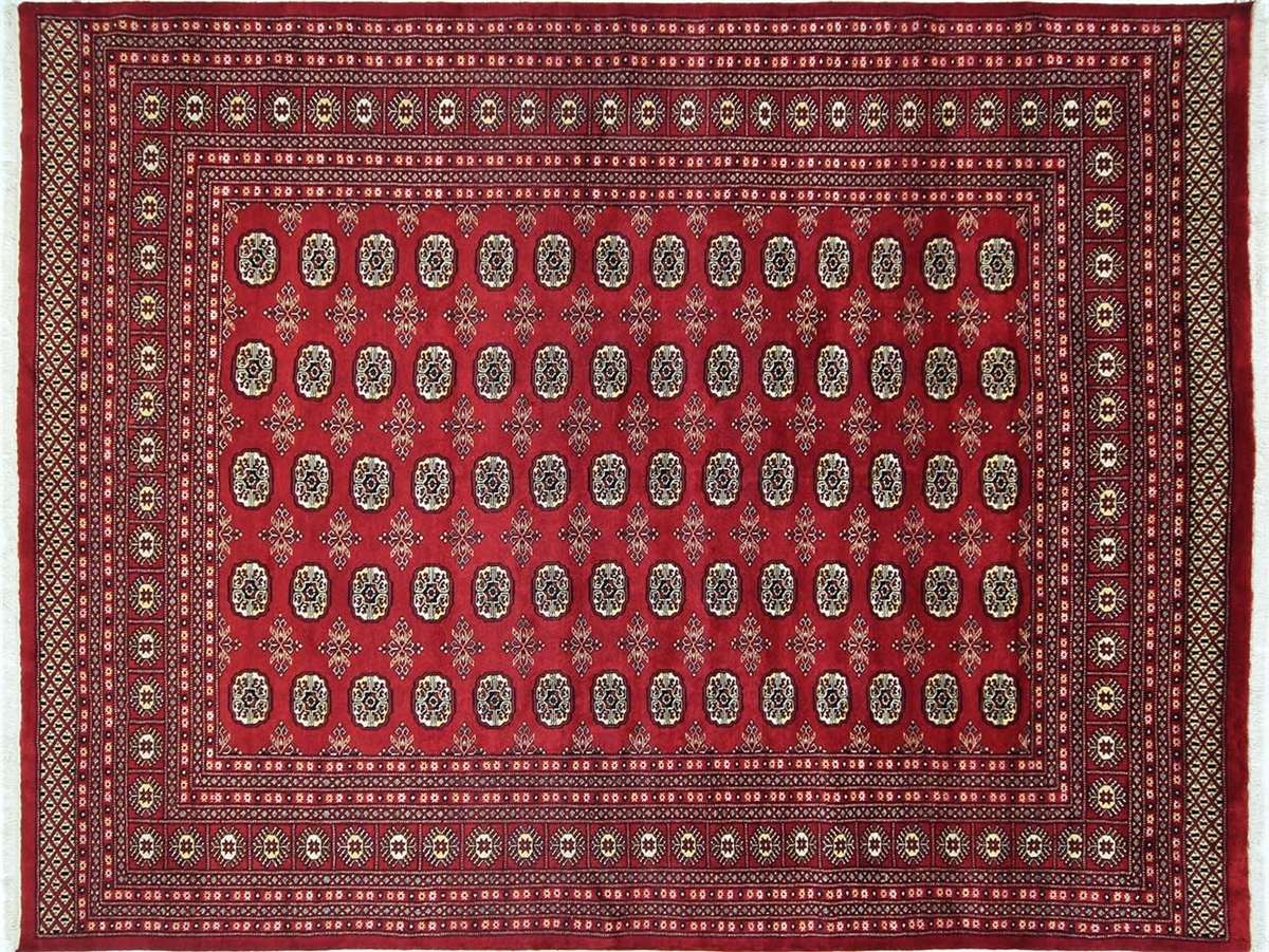 New Fine Royal Bokhara Hand Knotted Oriental 8×10 Red Wool Area Inside Red Wool Rugs (Image 7 of 15)