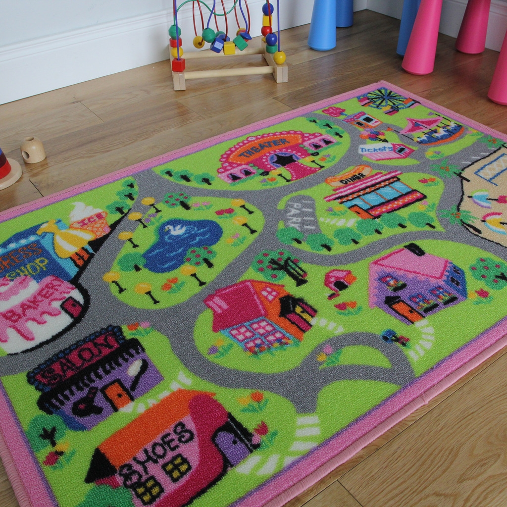 New Girls Doll World Playroom Activity Mat Cheap Non Slip Washable Within Cheap Kids Floor Rugs (Image 13 of 15)