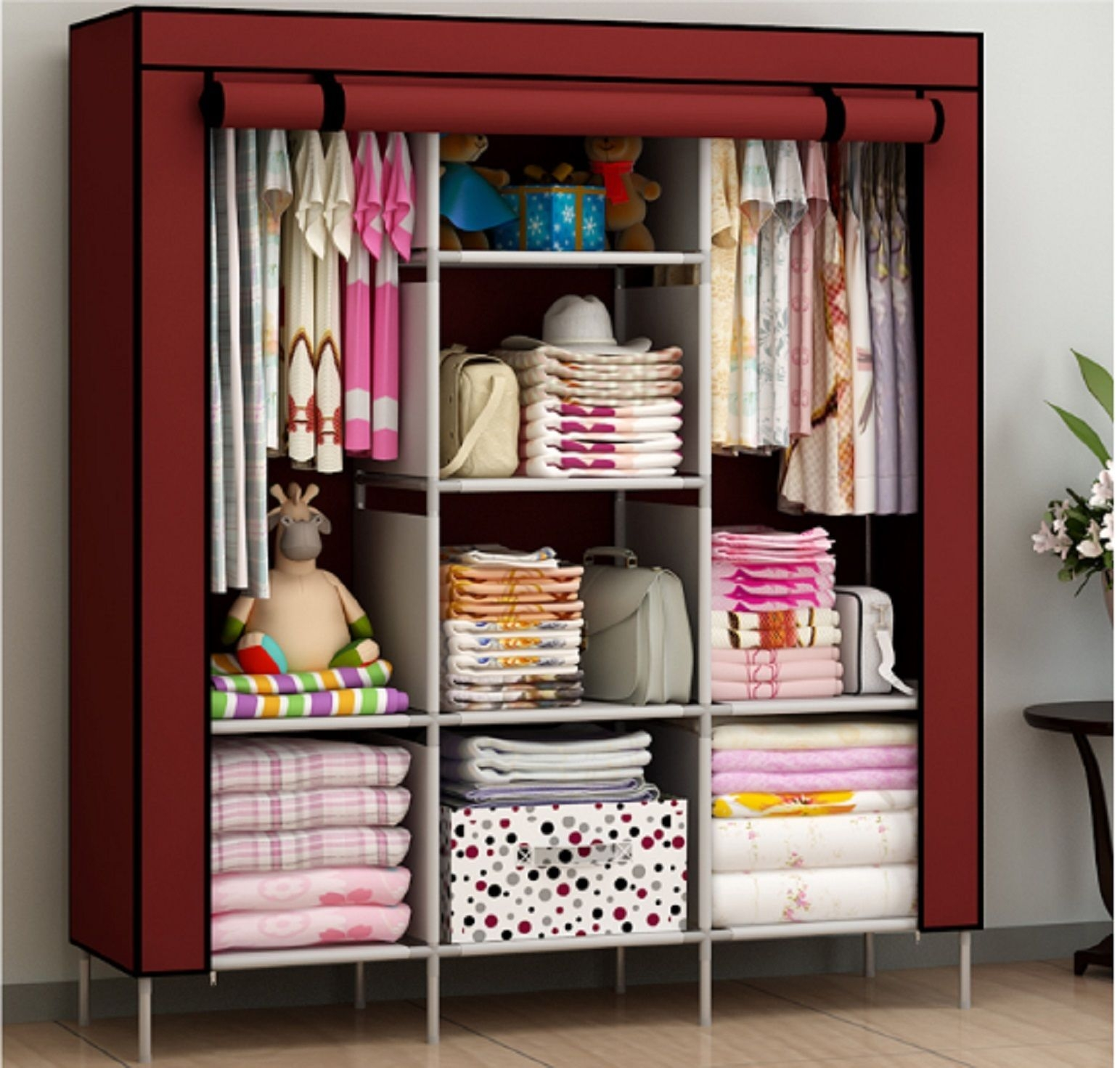 New Portable Bedroom Furniture Clothes Wardrobe Closet Storage With Mobile Wardrobe Cabinets (Image 14 of 25)
