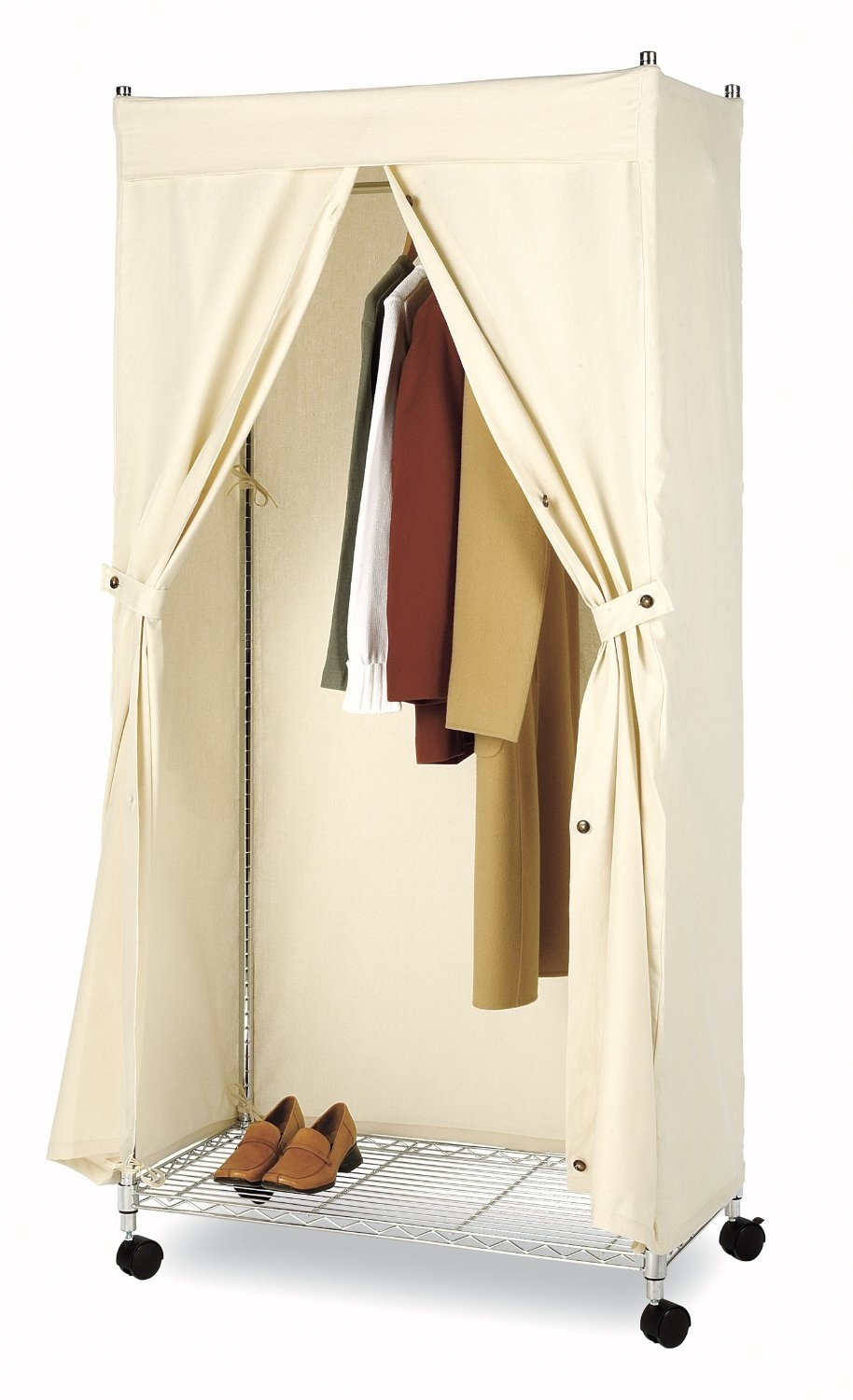 New Reinforced Large Portable Closet Folding Clothes Wardrobe Regarding Mobile Wardrobe Cabinets (Image 15 of 25)