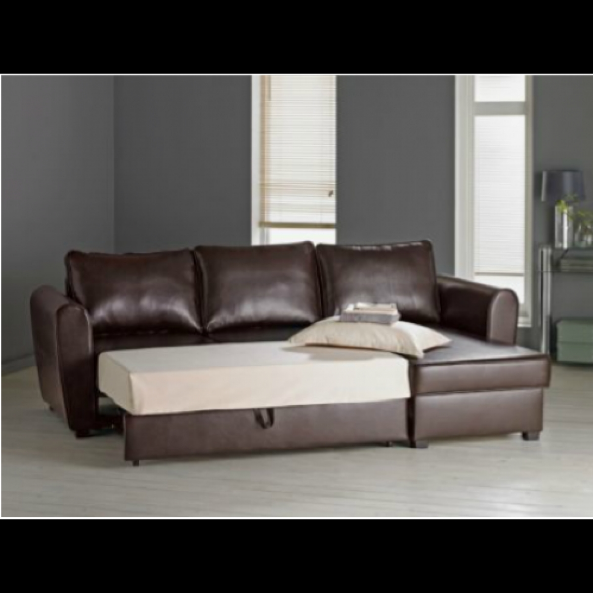 New Siena Fabric Corner Sofa Bed With Storage Charcoal In Corner Couch Bed (Image 13 of 15)