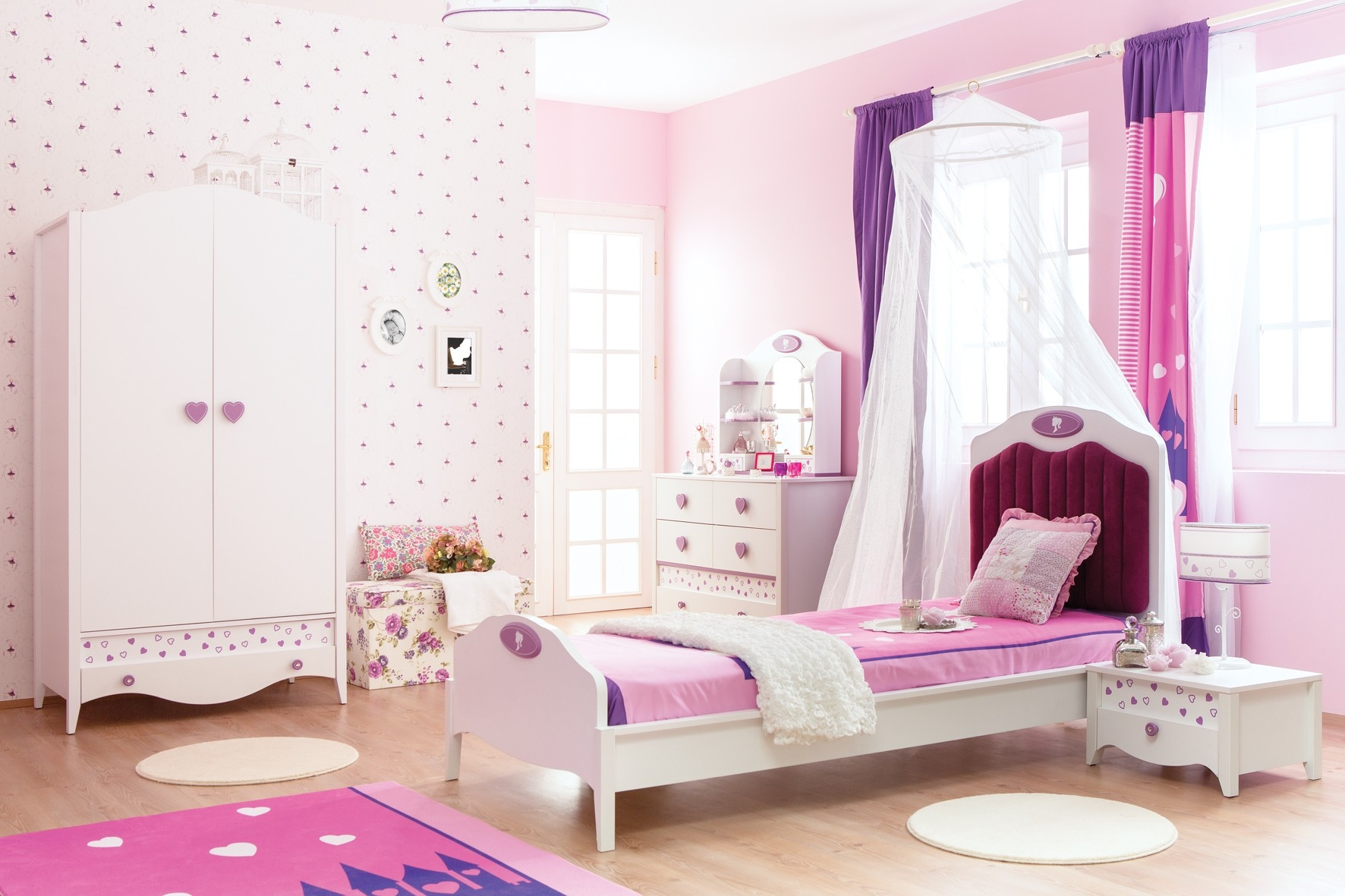 Newjoy Princess Childrens 2 Door Wardrobe Throughout Childrens Pink Wardrobes (Image 17 of 25)