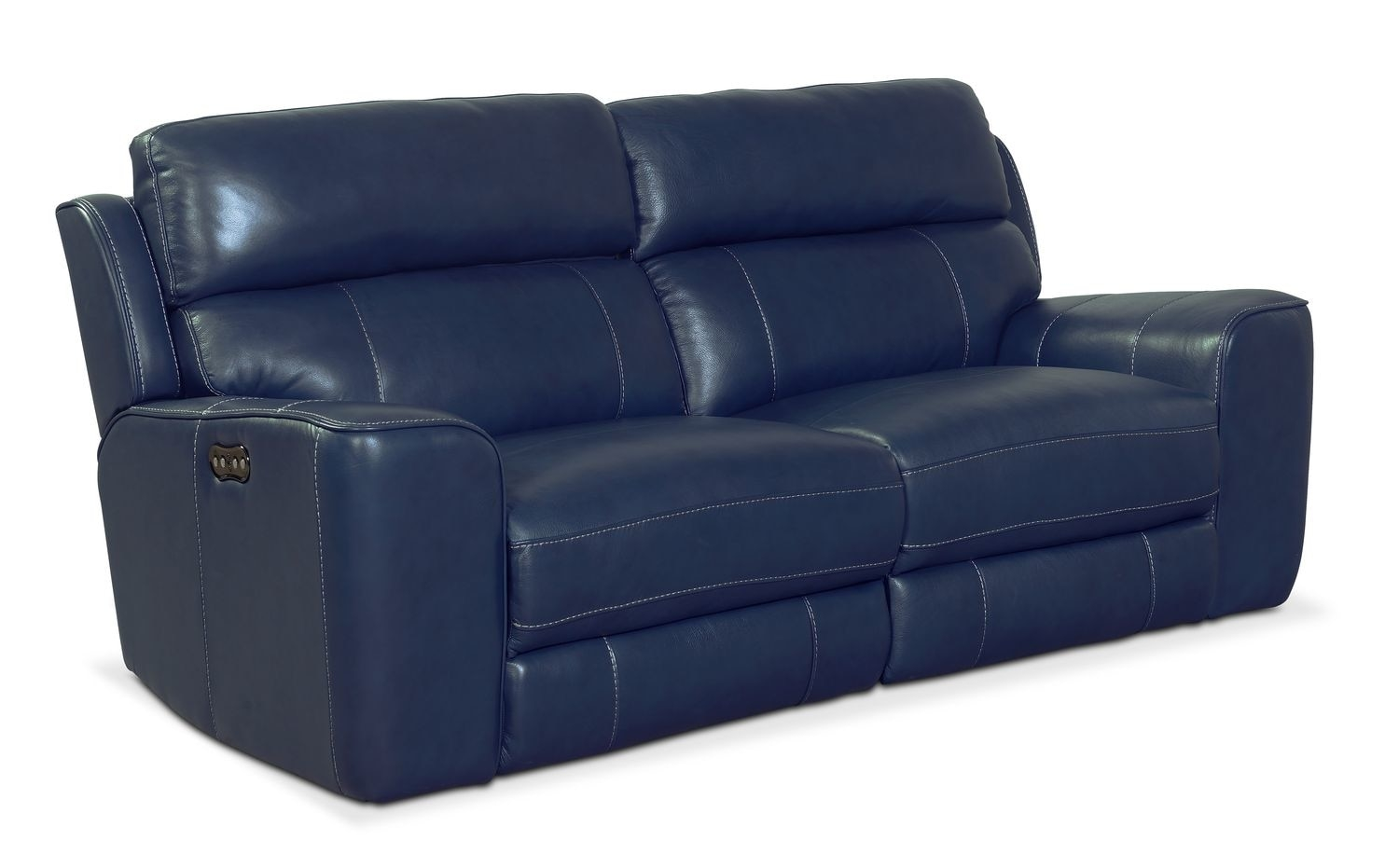 Newport 2 Piece Power Reclining Sofa Blue Value City Furniture Inside Newport Sofas (Image 7 of 15)