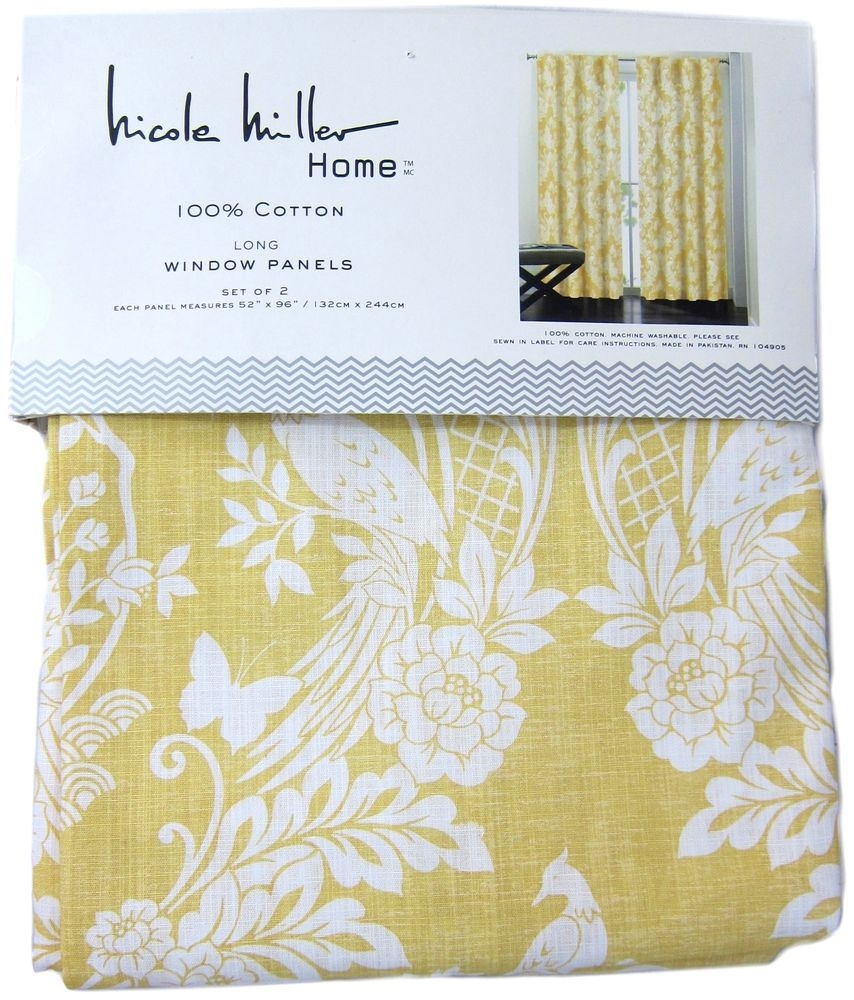Nicole Miller Yellow Japanese Bird Window Curtain Panel Set Of 2 Pertaining To Asian Curtains Drapes (Image 19 of 25)