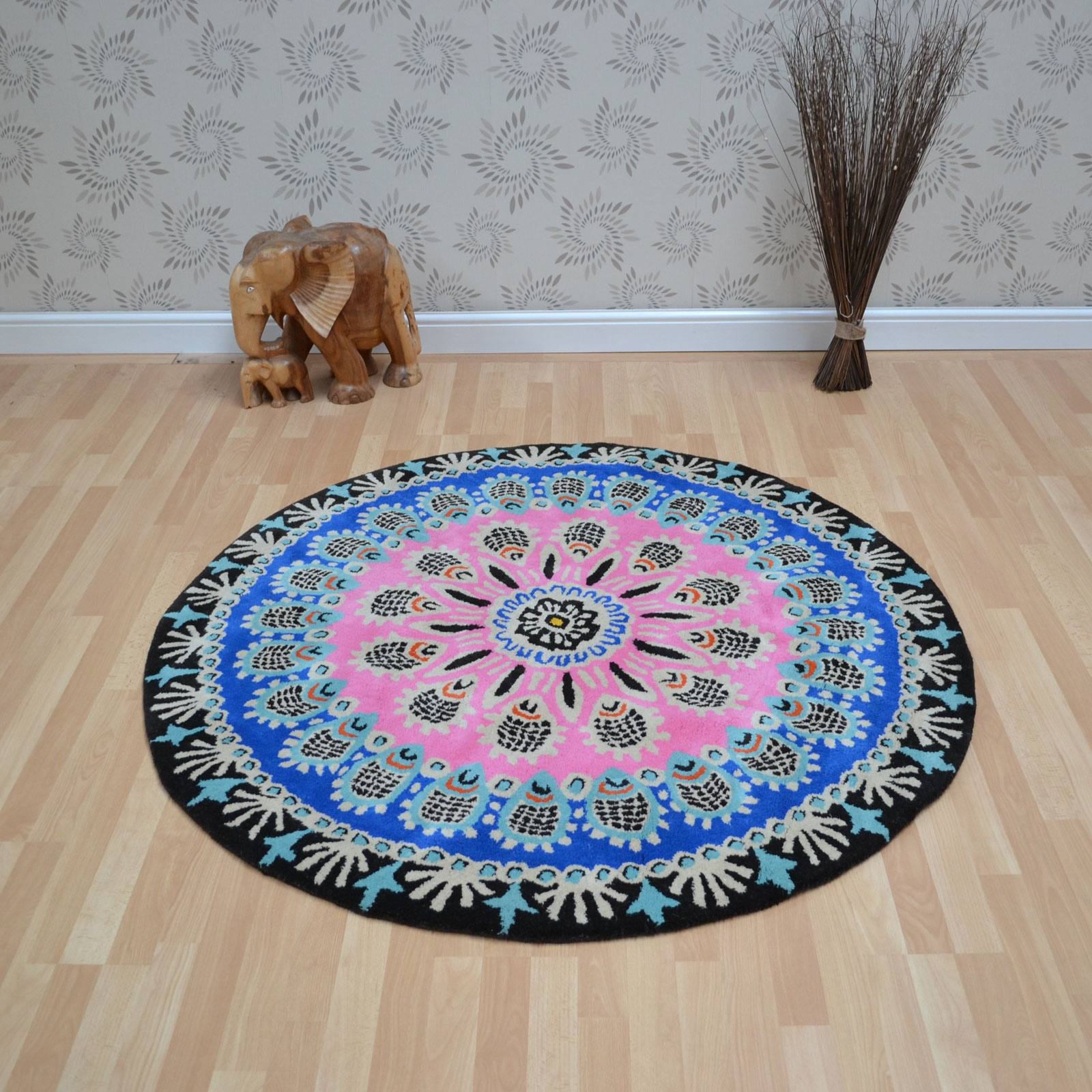 Nomadic Circular Wool Rugs Nom01 Pink More Wool Rug Ideas In Circular Wool Rugs (Image 8 of 15)