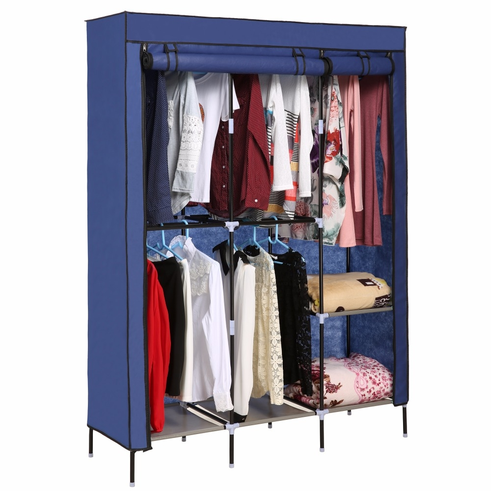 Nonwoven Wardrobes Portable Simple Closet Dustproof Storage Cloth For Hanging Wardrobe Shelves (Image 14 of 25)