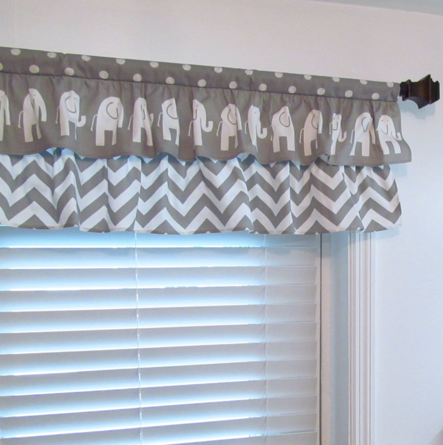 Nursery Decor Two Tiered Curtain Elephant Chevron Polka Dot With Regard To Navy And White Polka Dot Curtains (Image 18 of 25)