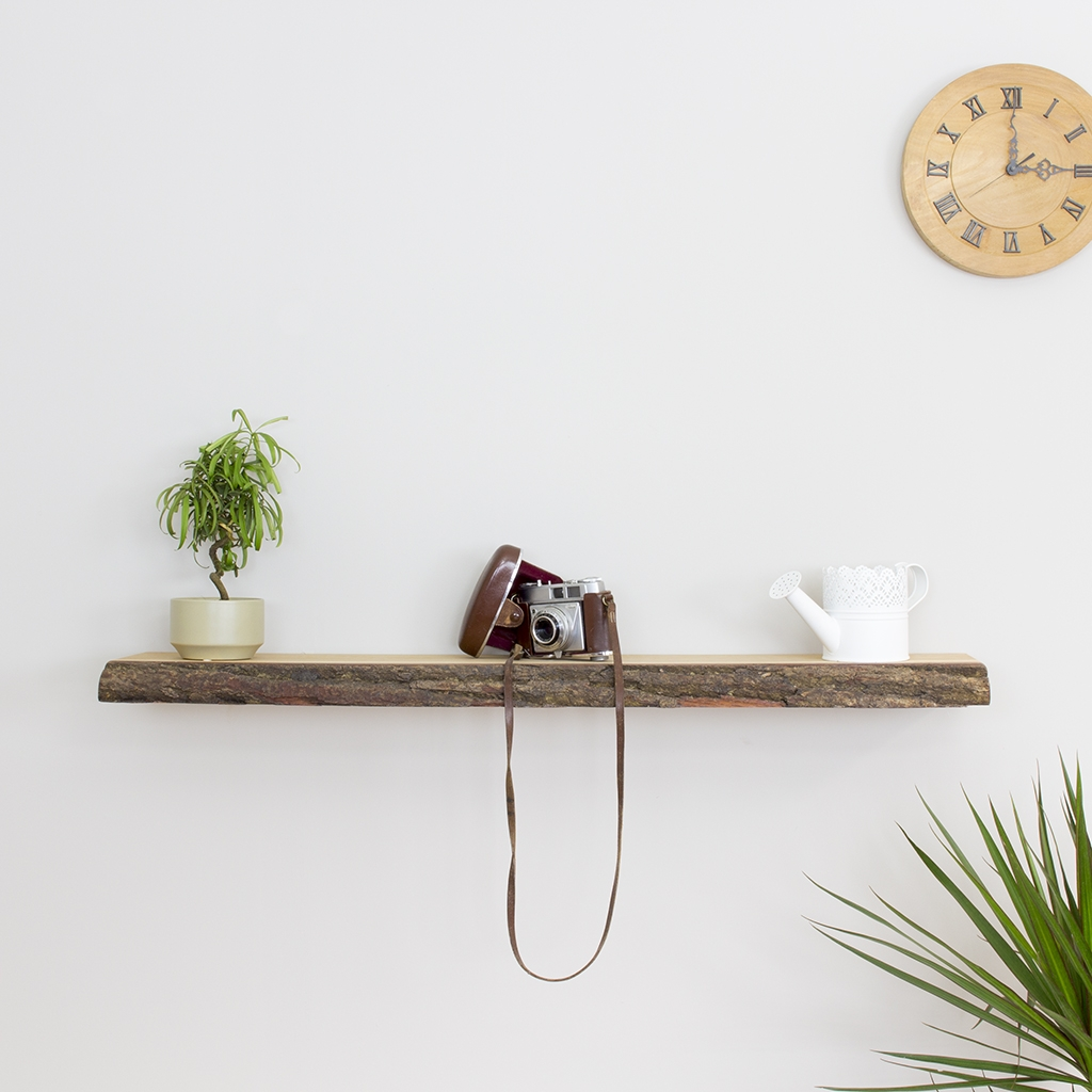 Oak Floating Shelf Bark Edged Solid Oak 100mm 350mm Deep Within Floating Shelf 40cm (Image 10 of 15)