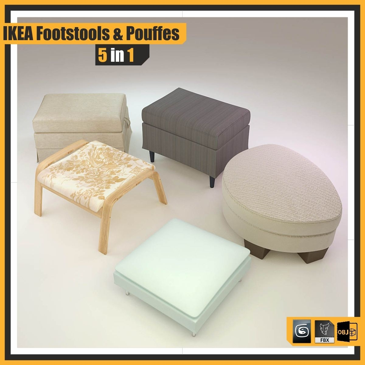 Obj Model Ikea Footstools Pouffes Within Ikea Footstools And Pouffes (Image 12 of 15)