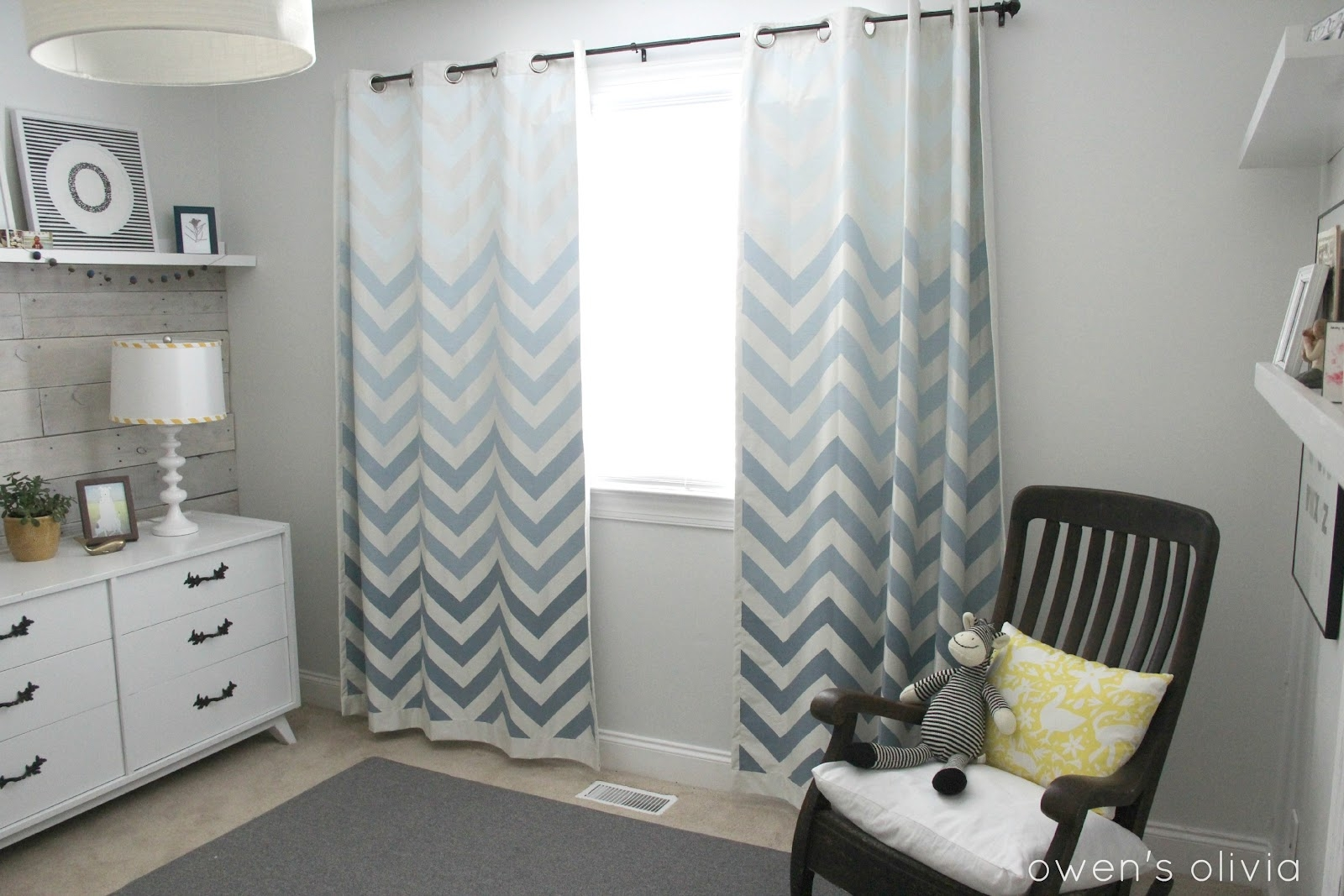 Ombre Chevron Curtains In Boys Nursery Regarding Blue Curtains For Boys Room (Image 24 of 25)