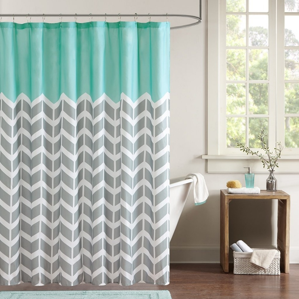 Online Get Cheap Gray White Shower Curtain Aliexpress Throughout Gray Chevron Shower Curtains (Image 18 of 25)