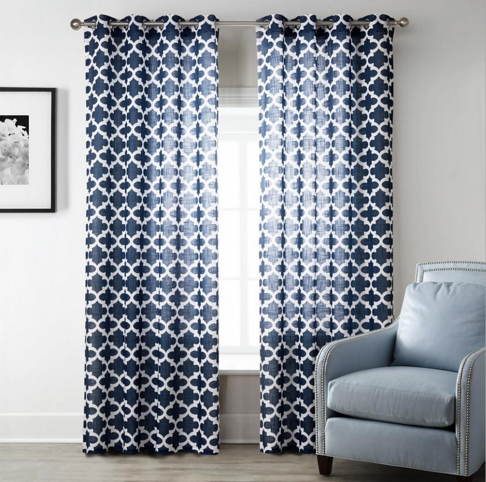 Online Get Cheap Navy Blue Curtains Aliexpress Alibaba Group For Navy And White Curtains (Image 21 of 25)