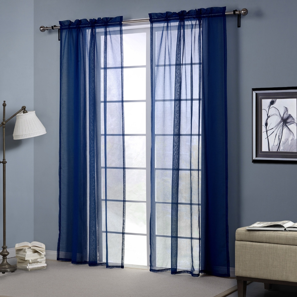 Online Get Cheap Navy Blue Curtains Aliexpress Alibaba Group In Navy And White Curtains (Image 22 of 25)