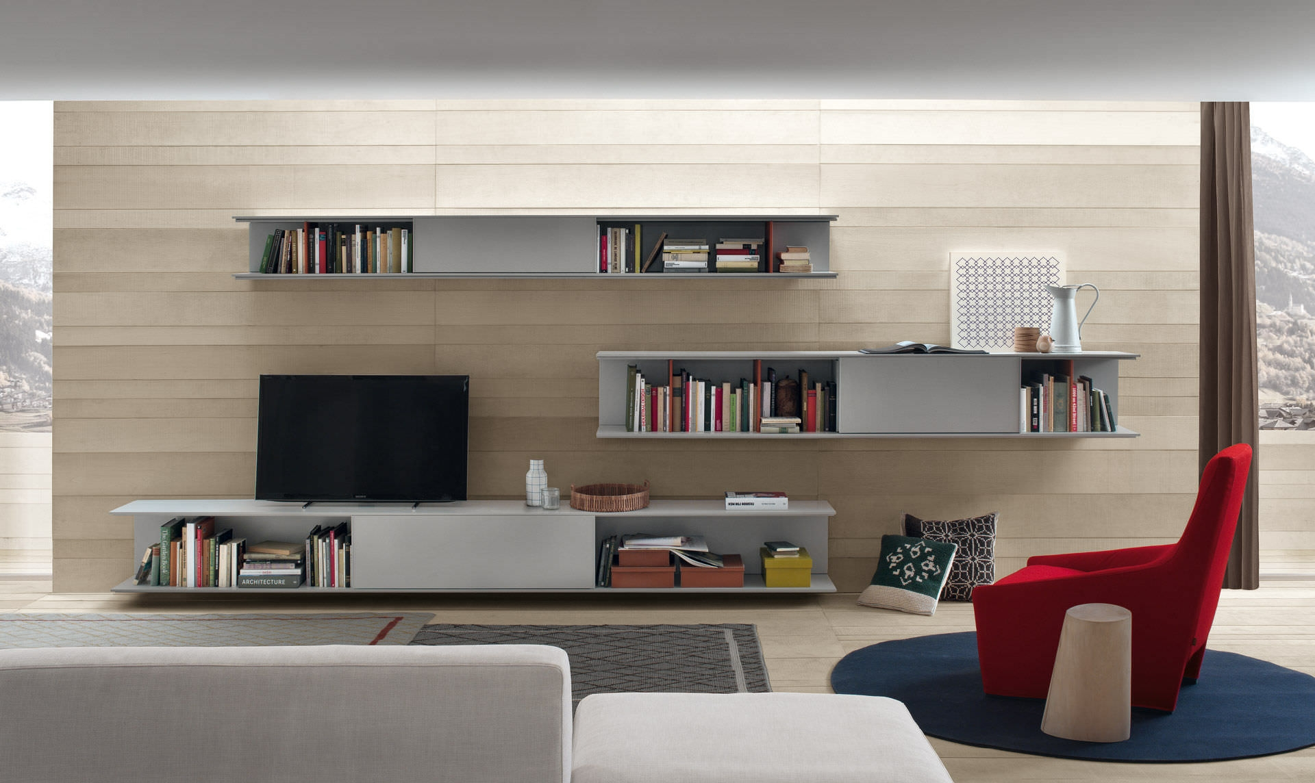 Online Is The Innovative Wall System That Combines Essential Throughout Tv Cabinet And Bookcase (Image 11 of 15)