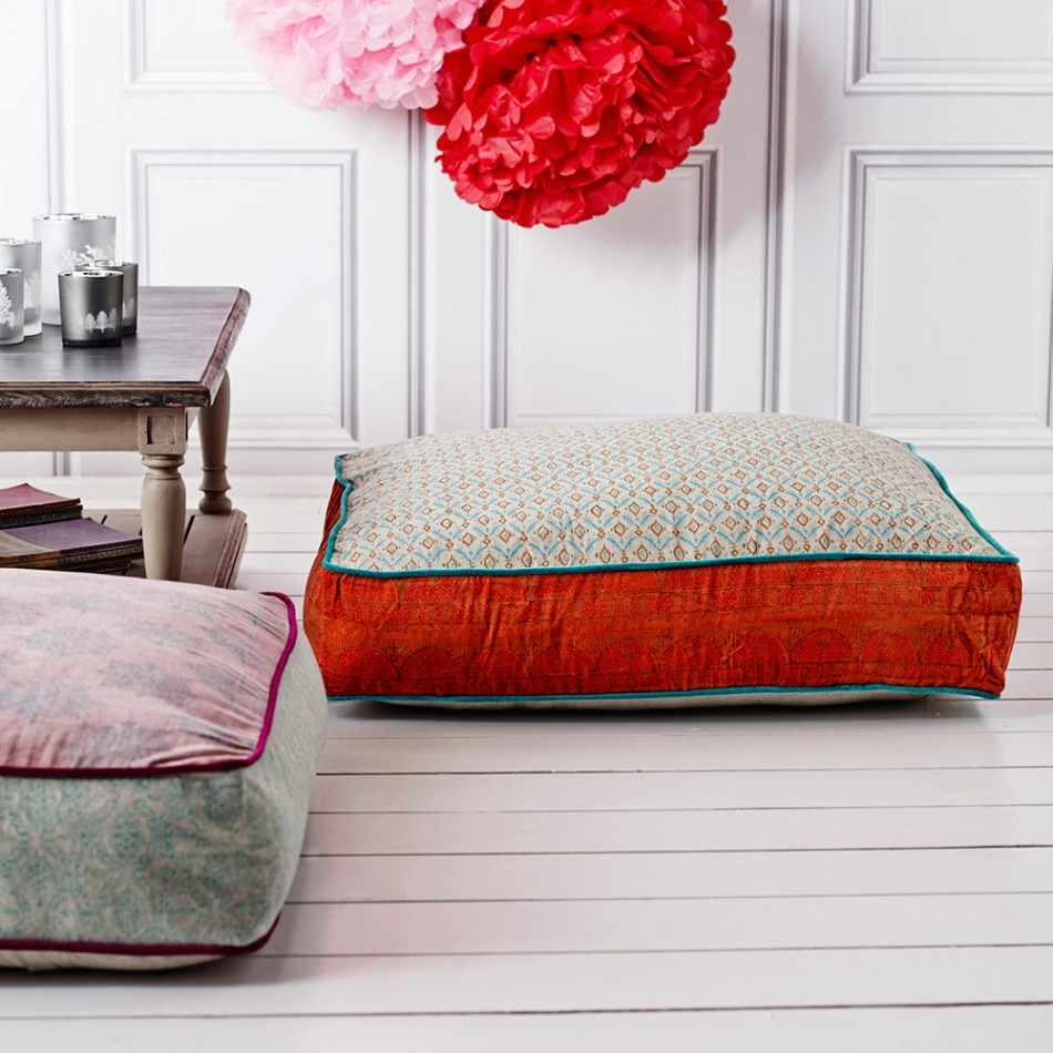 Orange And Blue Floor Cushion Cushions Throws Treat Your With Moroccan Style Floor Seating (Image 15 of 15)