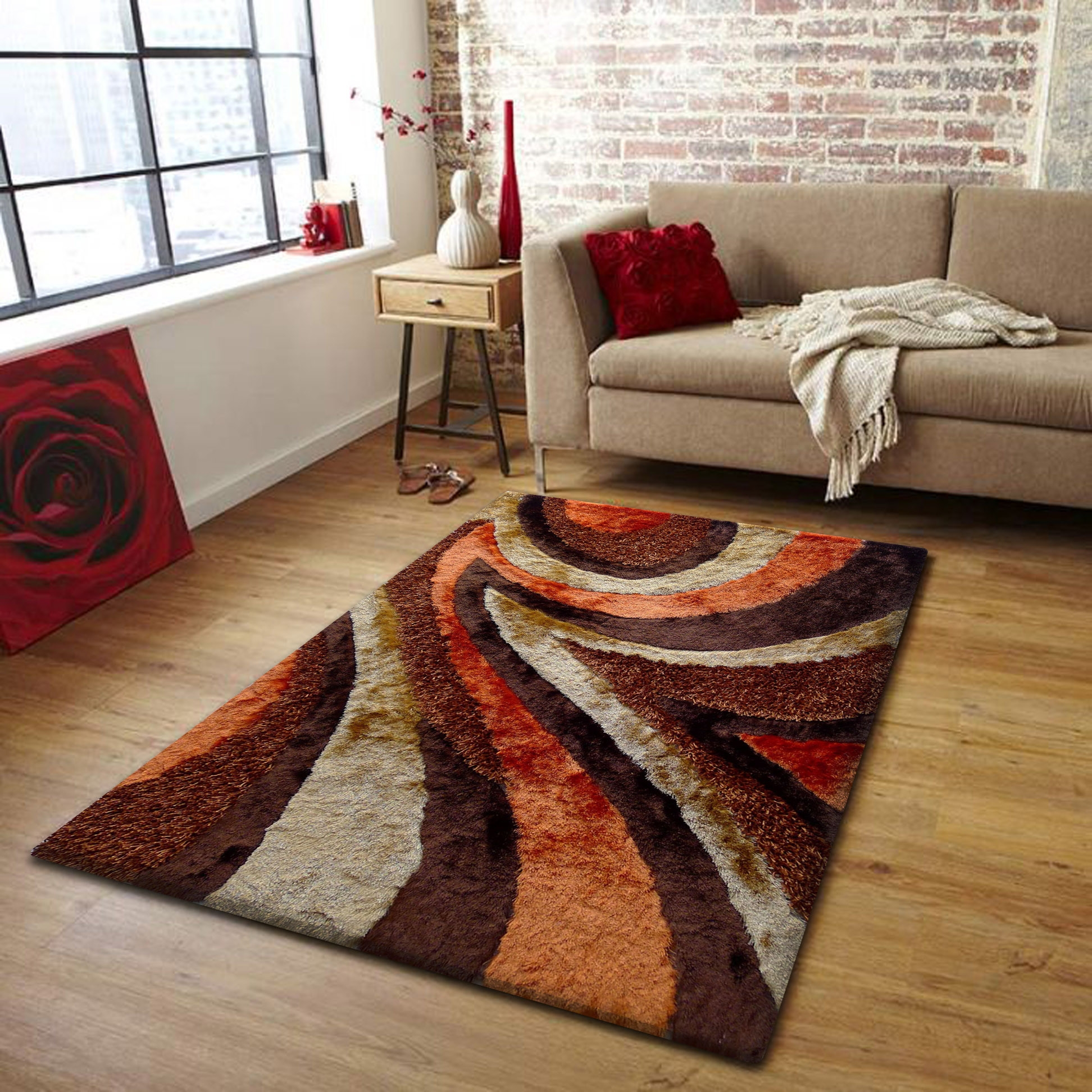Orange And Brown Rugs Cievi Home Pertaining To Brown Orange Rugs (View 5 of 15)