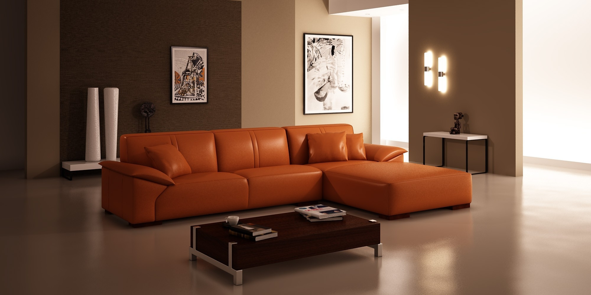 Orange And Brown Sofa Sets Hereo Sofa With Orange Sofa Chairs (Image 7 of 15)