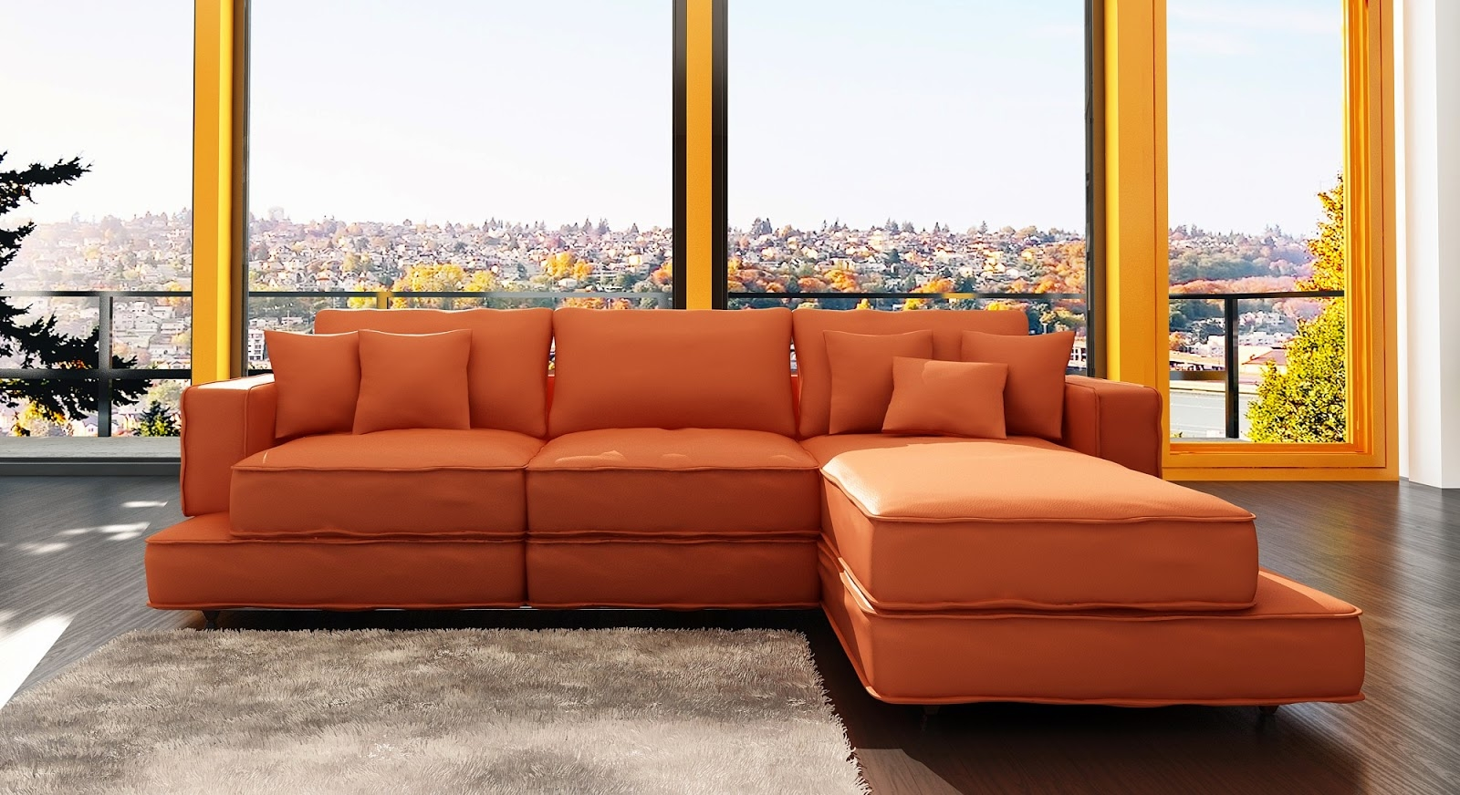 Orange Sofa Modern Home Design For Orange Sofa Chairs (Image 14 of 15)