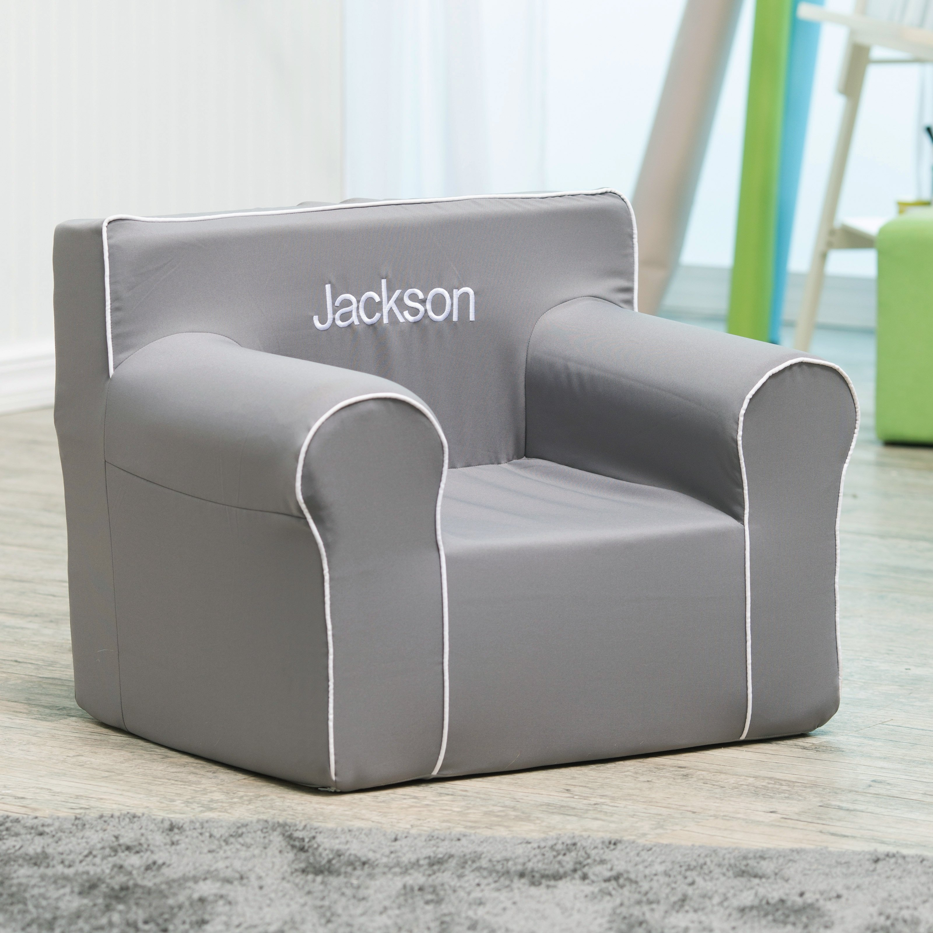 Orbelle Contemporary Solid Wood Toddler Bed Gray Toddler Beds Within Personalized Kids Chairs And Sofas (Image 5 of 15)