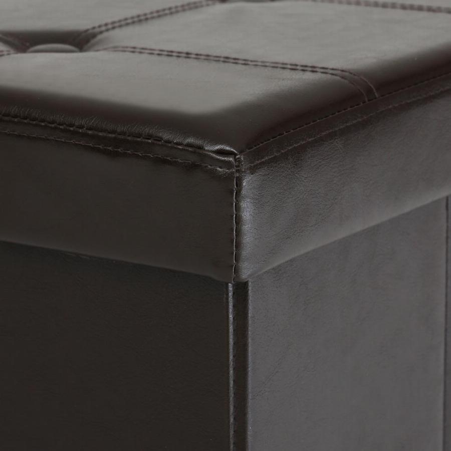 Organizer Folding Faux Leather Storage Ottoman Sofa Foot Rest Intended For Footstool Pouffe Sofa Folding Bed (Image 7 of 15)