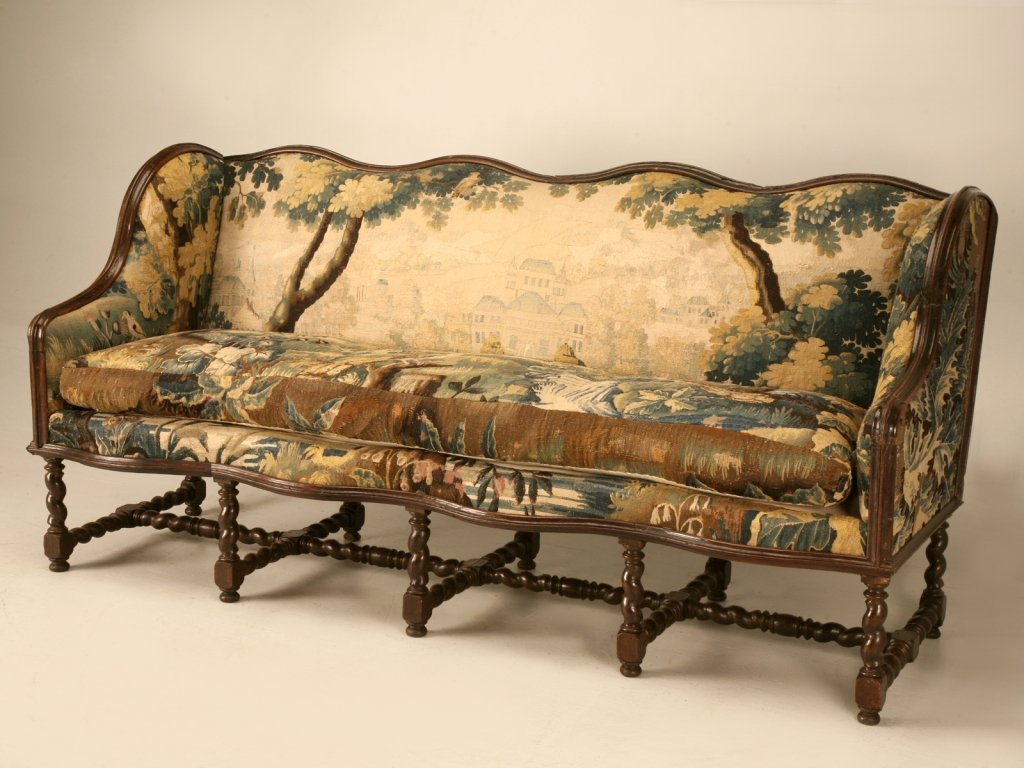 Original Antique French Louis Xiii Sofa With Earlier Aubusson Pertaining To Antique Sofa Chairs (Image 13 of 15)