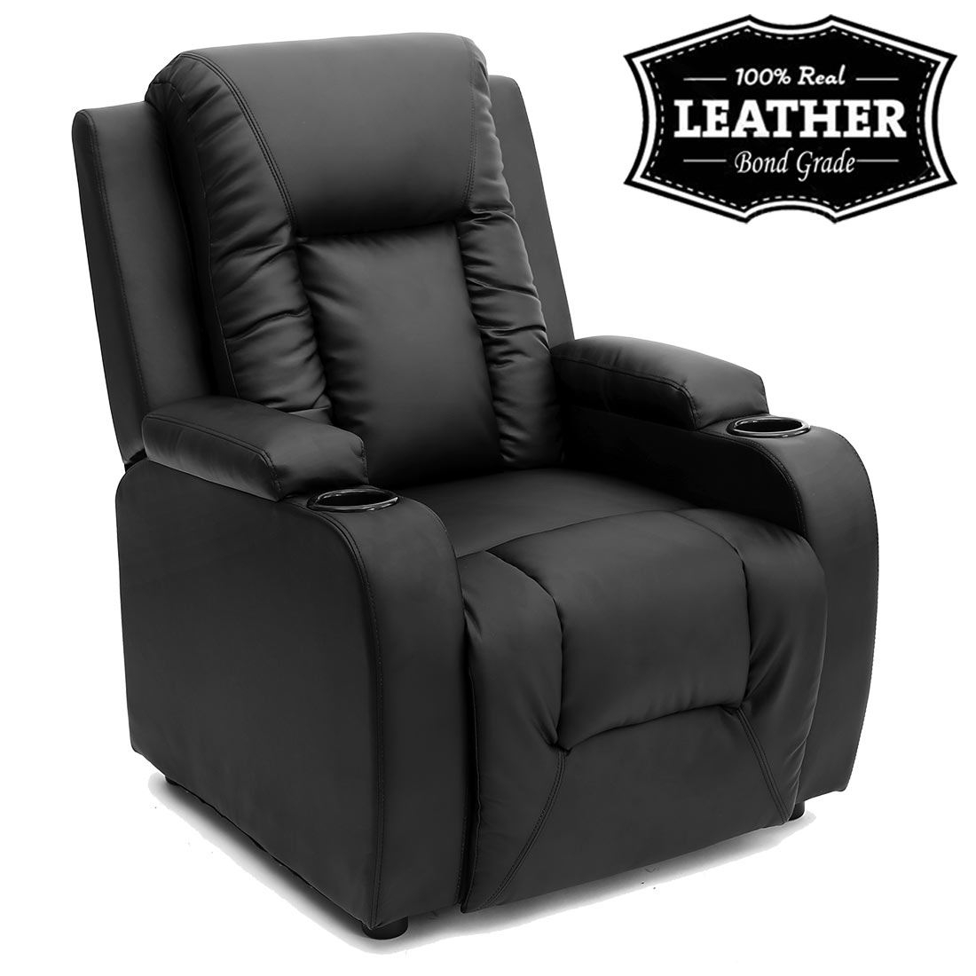 Oscar Leather Recliner W Drink Holders Armchair Sofa Chair Regarding Sofa Chair Recliner (Image 11 of 15)